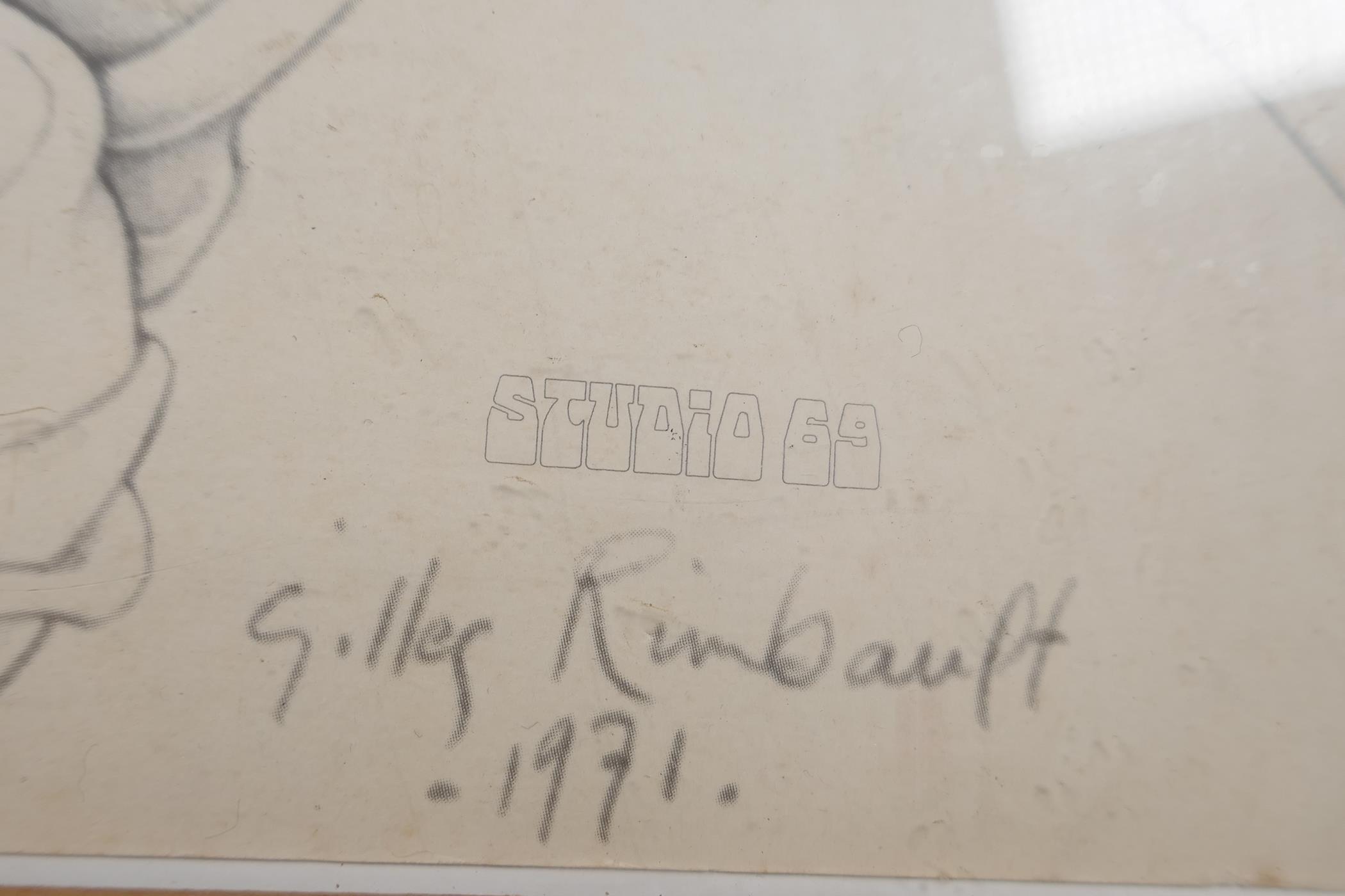 """After Gilles Rimbault, Studio 69, erotic surrealist art print, stamped, 23"""" x 23"""" - Image 4 of 4"""
