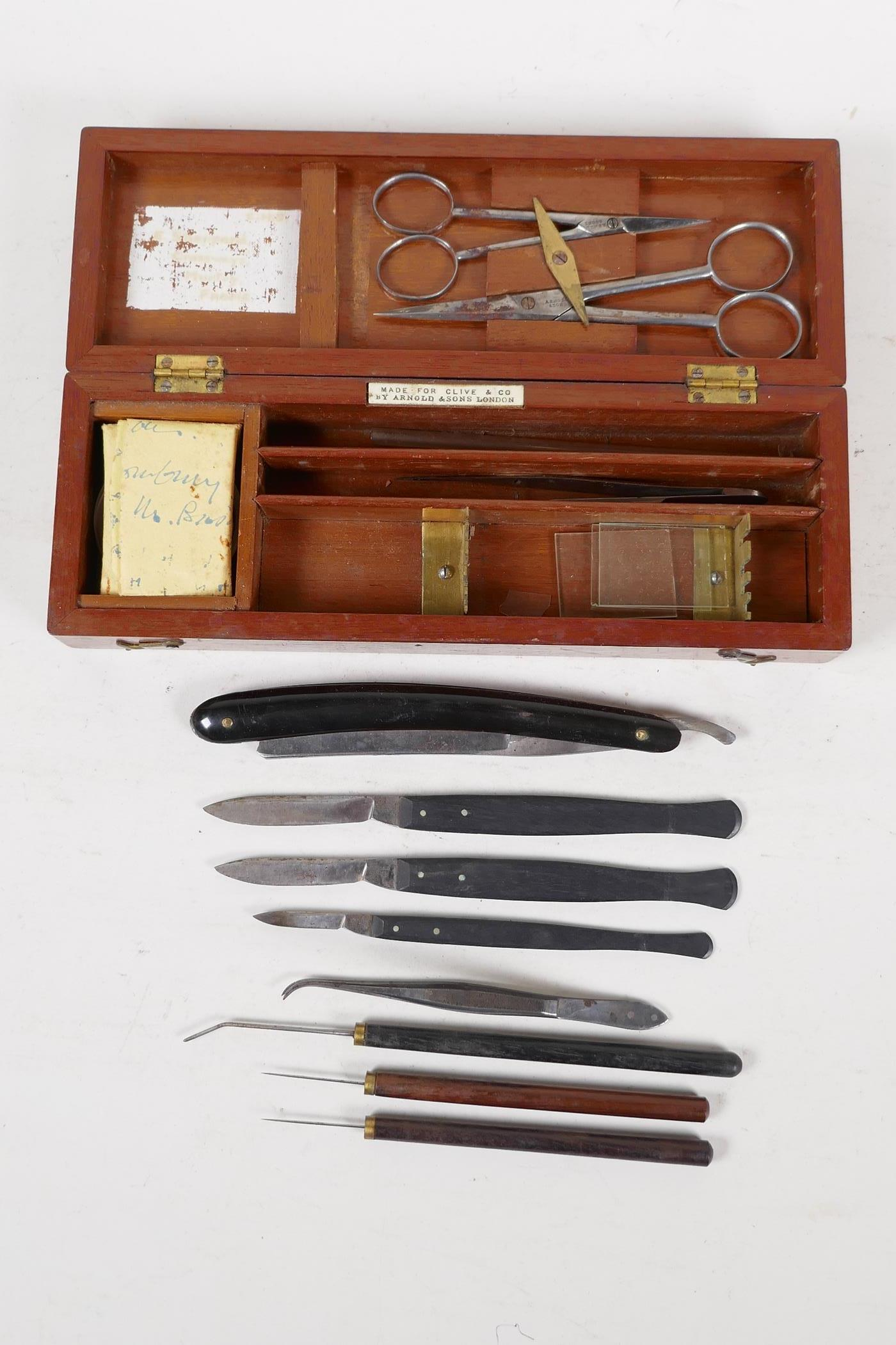 A field surgeons kit by Arnold & Sons, London, for Clive & Co, containing scalpels, a cut throat, - Image 3 of 5