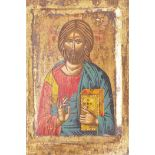 """An Eastern European icon painted on a wood panel, 9"""" x 6"""""""