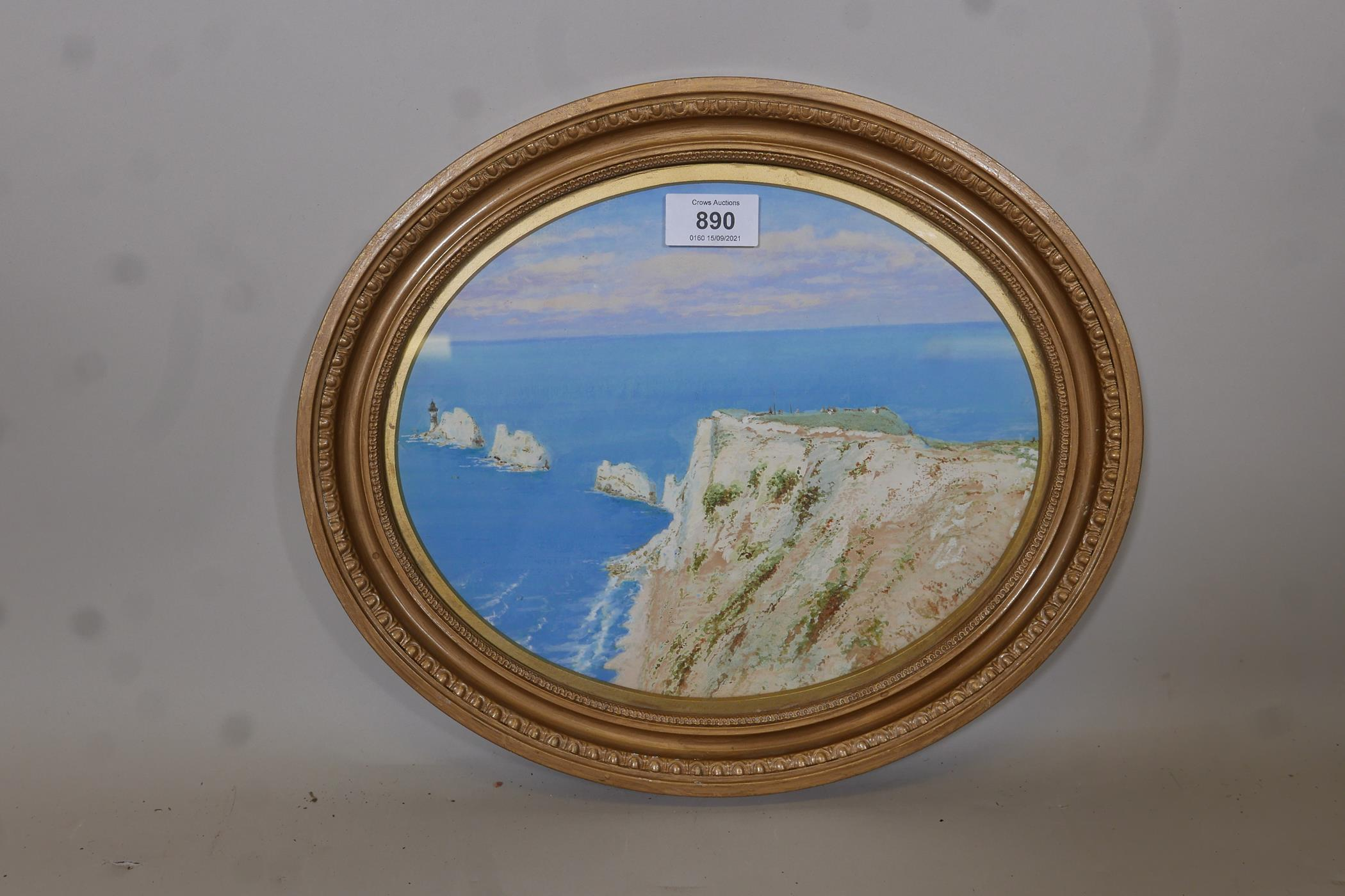 """A.H. Findley, coastal scene with the Needles, signed, watercolour and gouache, 11"""" x 8"""" - Image 2 of 4"""