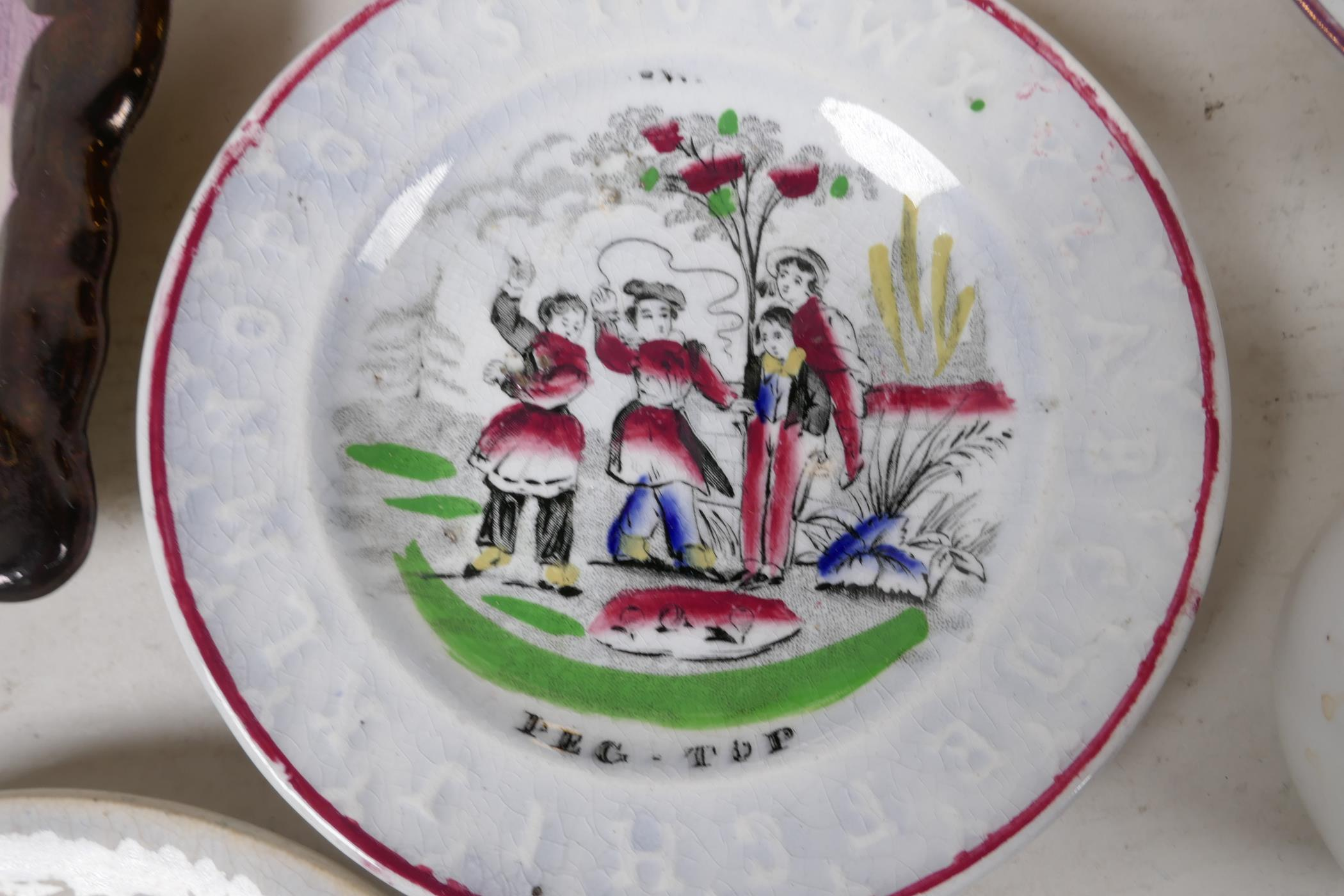 """A collection of C19th lustreware porcelain to include a Sunderland 'Flying Cloud' plaque, 9"""" x - Image 6 of 7"""