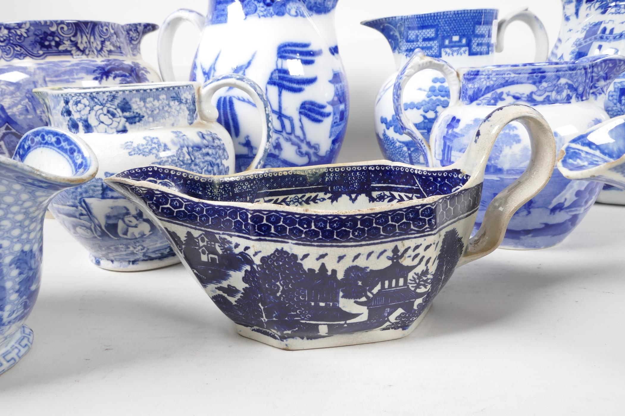 """Six blue and white transfer printed jugs and three gravy boats, various patterns, largest 6"""" high - Image 2 of 8"""