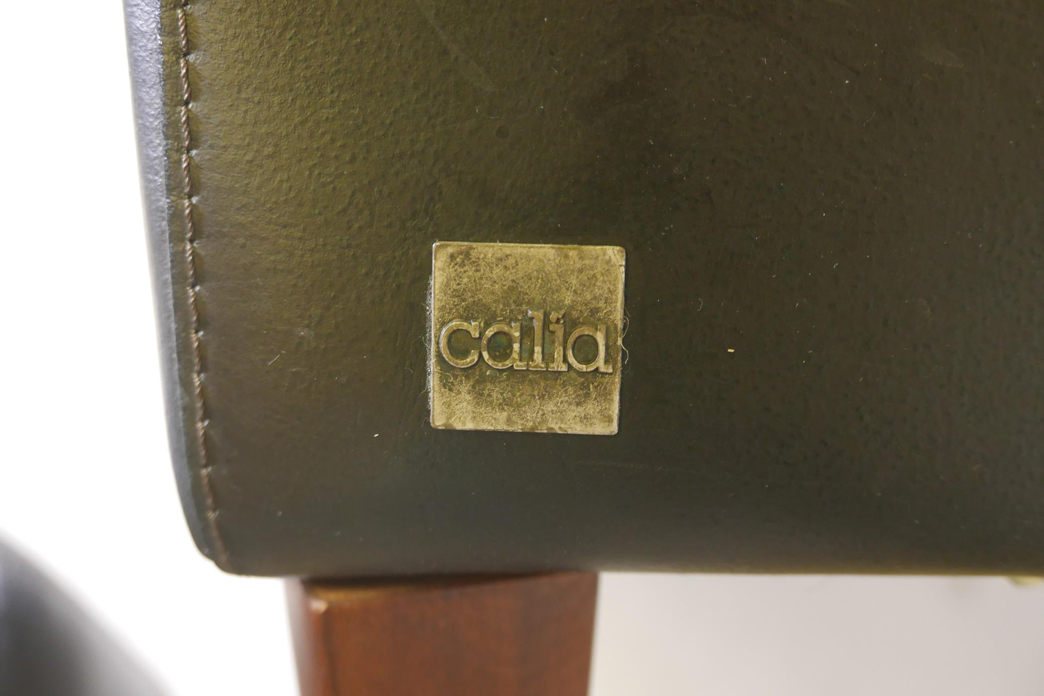 An Italian 'Calia' black leather club chair and matching foot stool - Image 2 of 3