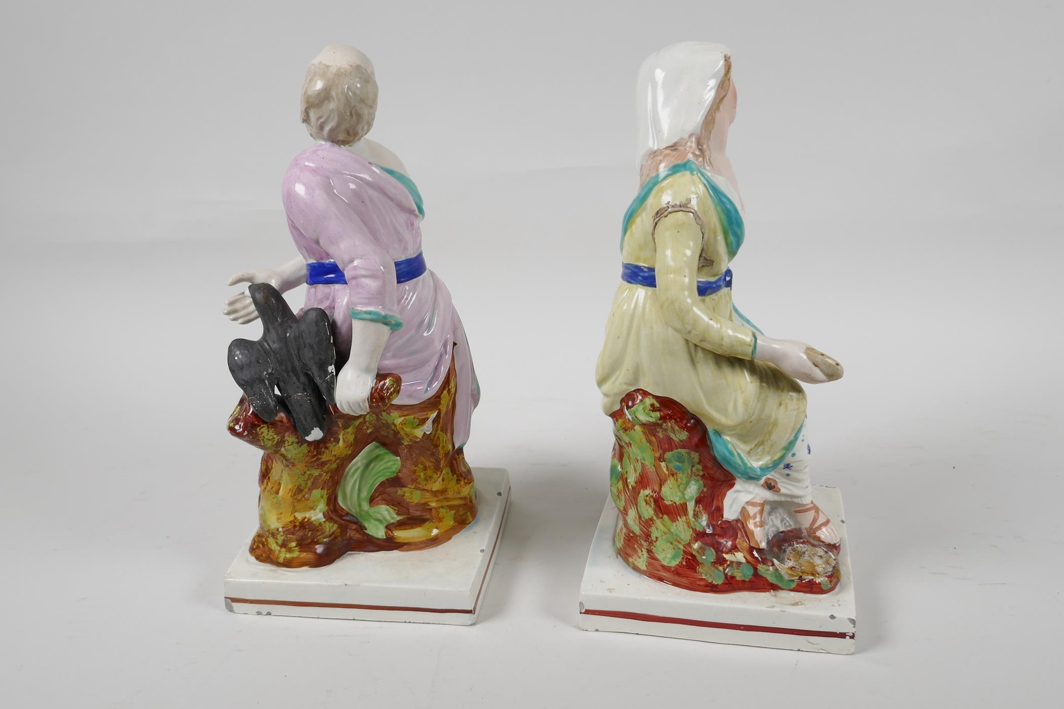 """A pair of C19th Staffordshire pottery figures, Elijah and the Widow, 9"""" high - Image 5 of 5"""