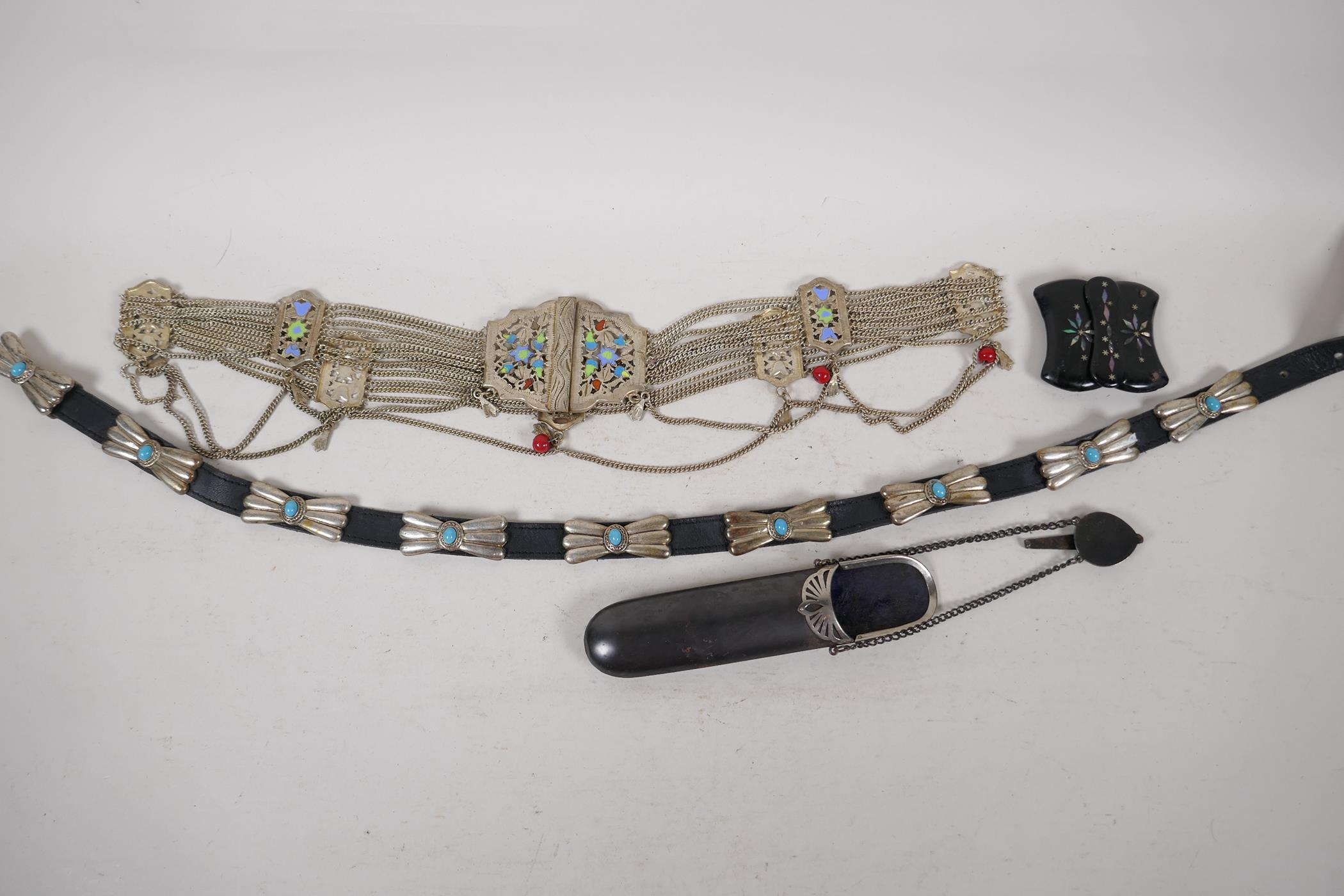 """A white metal and enamel belly dancer's belt, 37"""" long, together with a white metal and turquoise"""