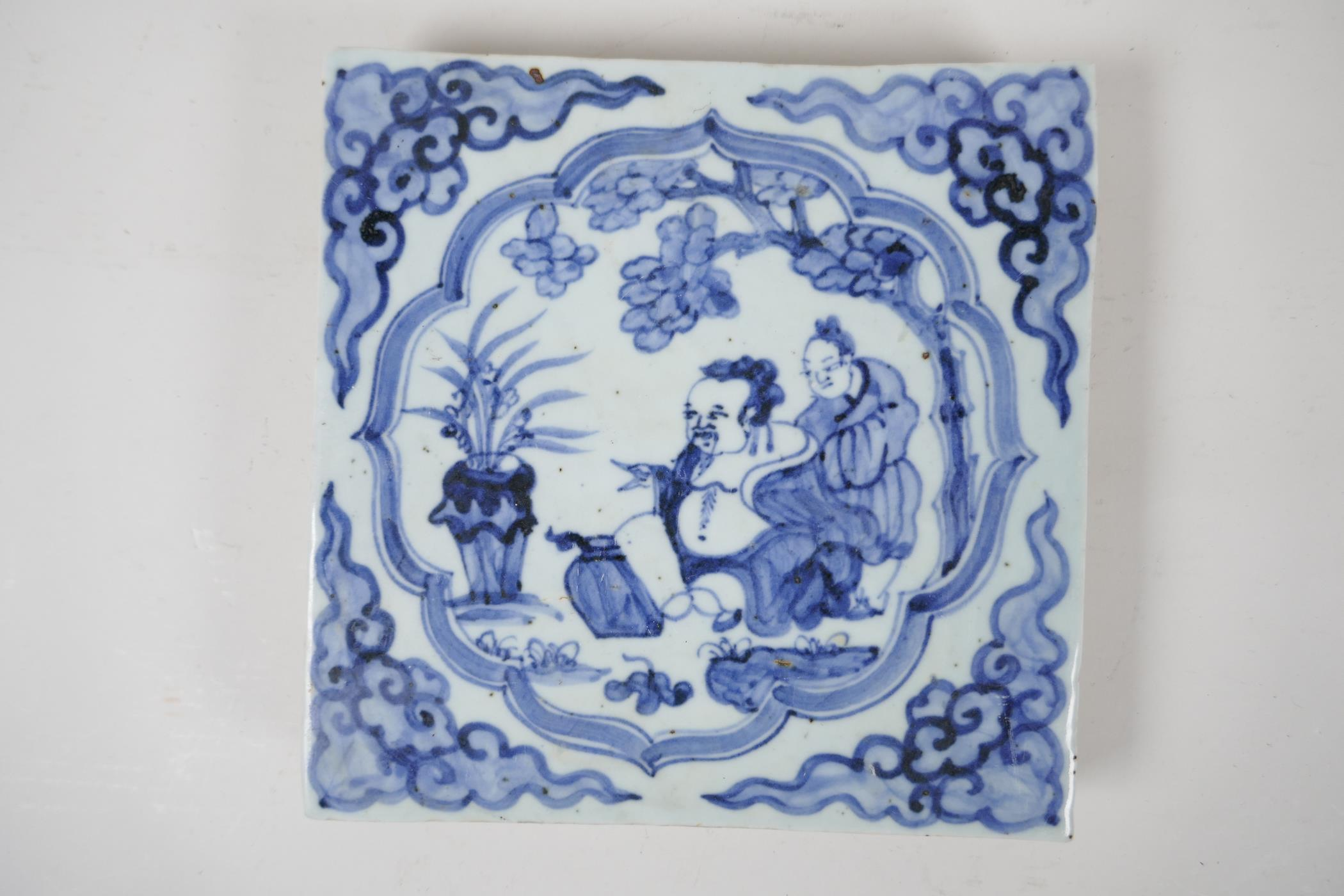 """A Ming style blue and white porcelain temple tile with figural decoration, Chinese, 7½"""" x 7½"""""""