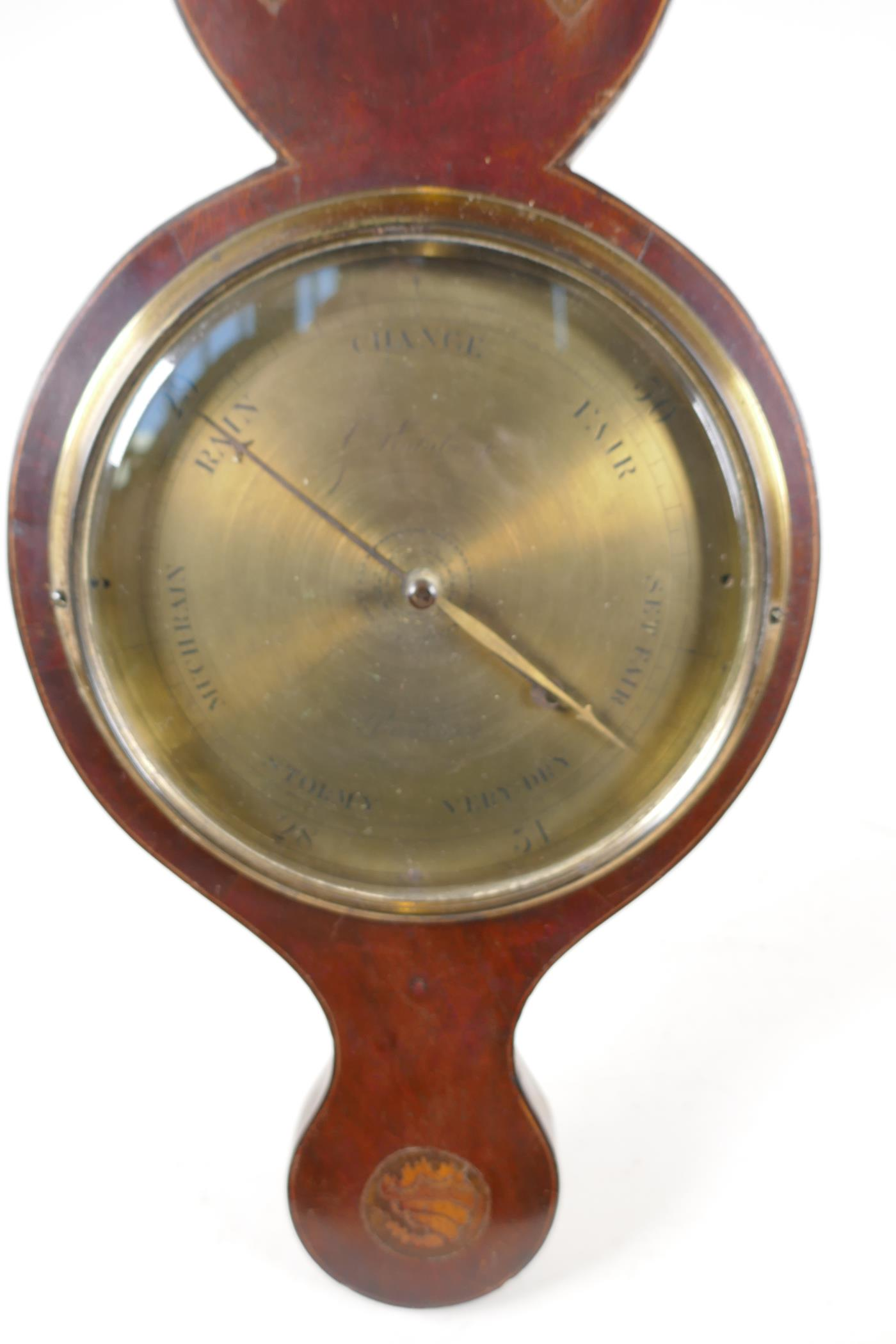 """A C19th mahogany cased barometer/thermometer with broken pediment and shell inlay, 38"""" long (tubes - Image 5 of 6"""