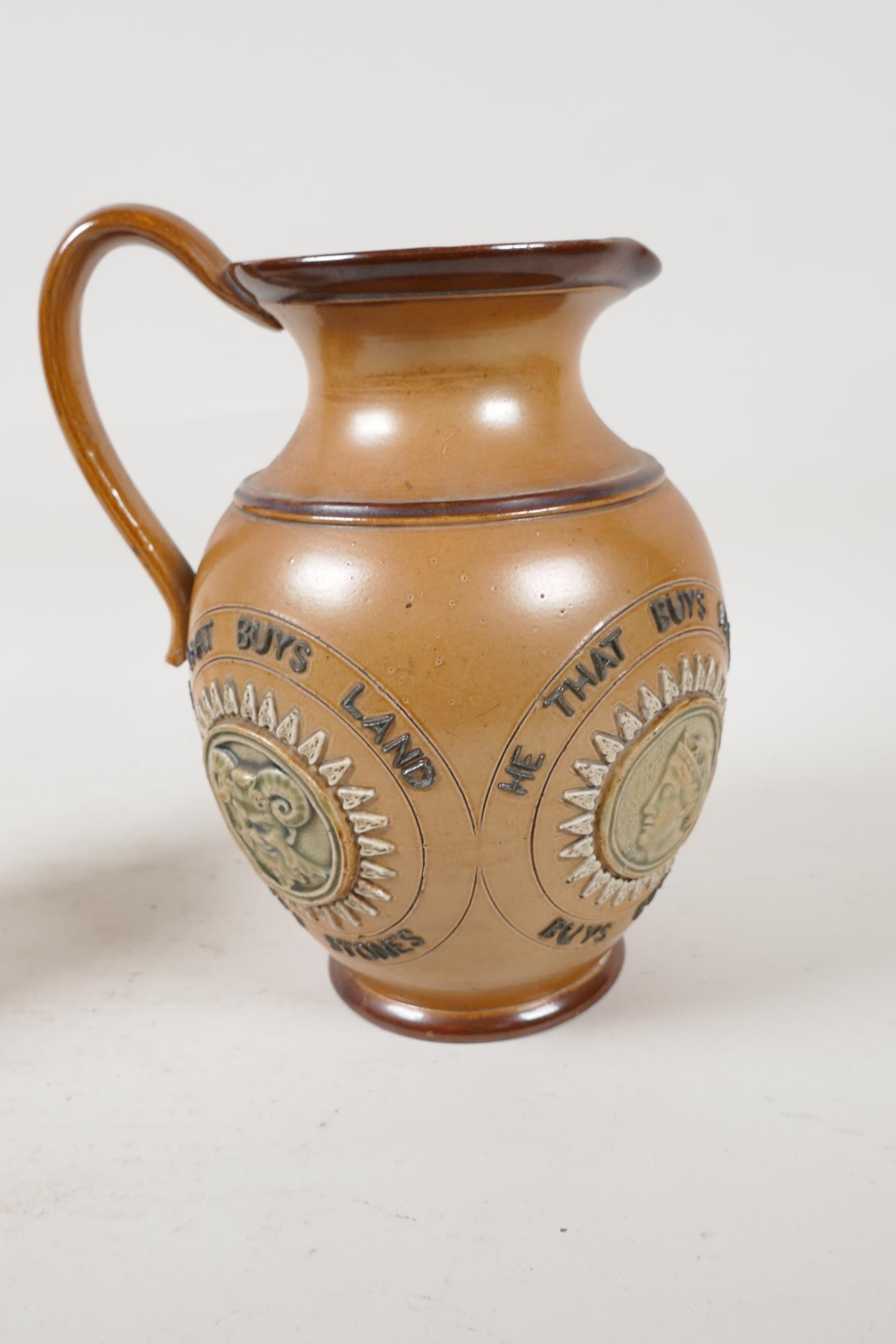 A Doulton Lambeth stoneware jug bearing the legend 'He that buys good ale' embossed with various - Image 4 of 5