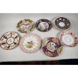 """Eight early English porcelain and ironstone plates, to include Worcester, Derby, Copeland etc, 9"""""""