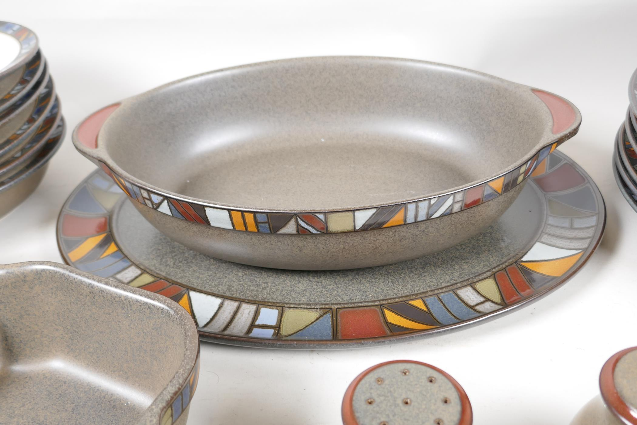 A Denby 'Marrakesh' six setting dinner service, with a pair of condiments, gravy jug, vegetable - Image 3 of 6