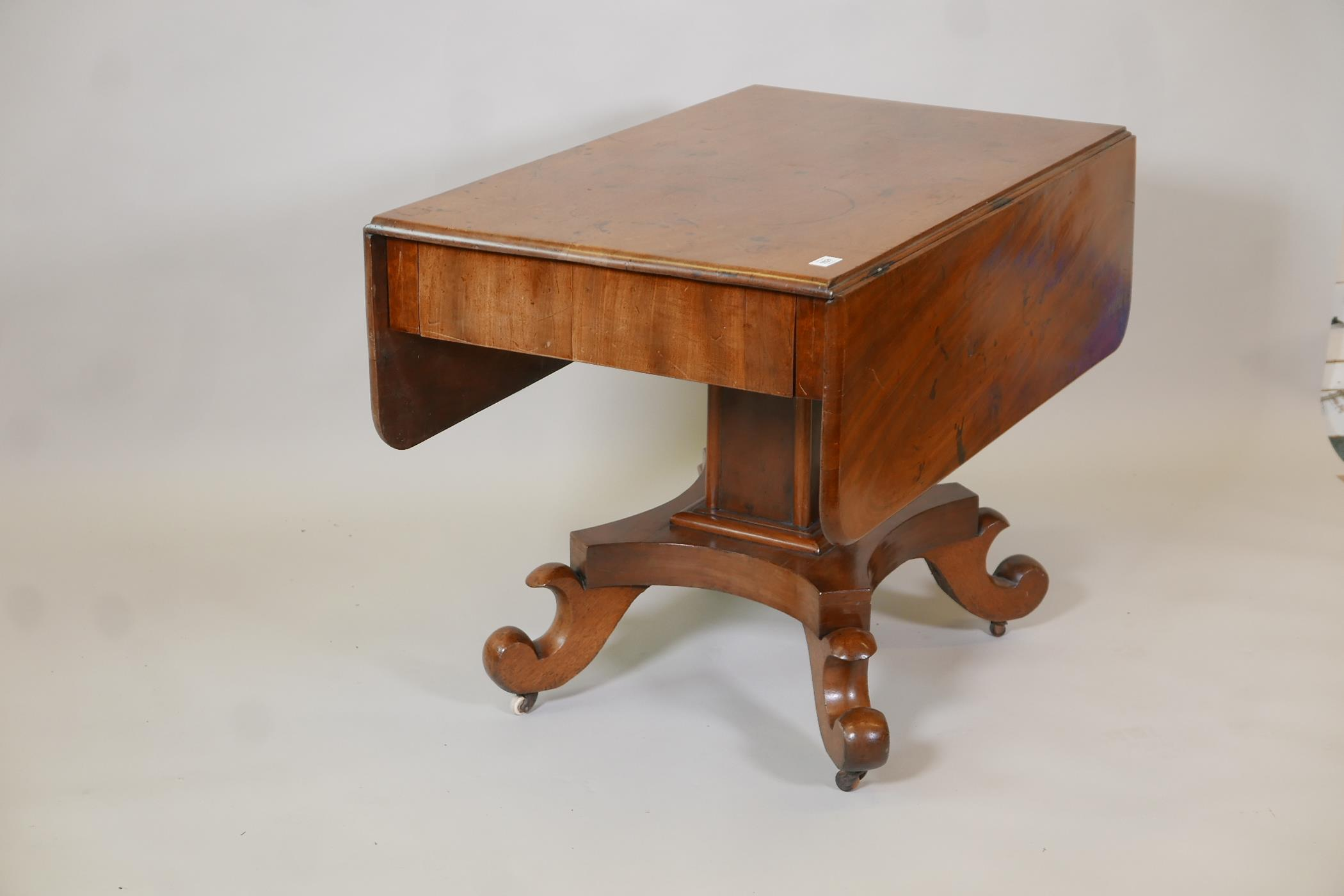 A C19th Continental mahogany sofa table with single end frieze drawer, raised on a square column and - Image 2 of 3