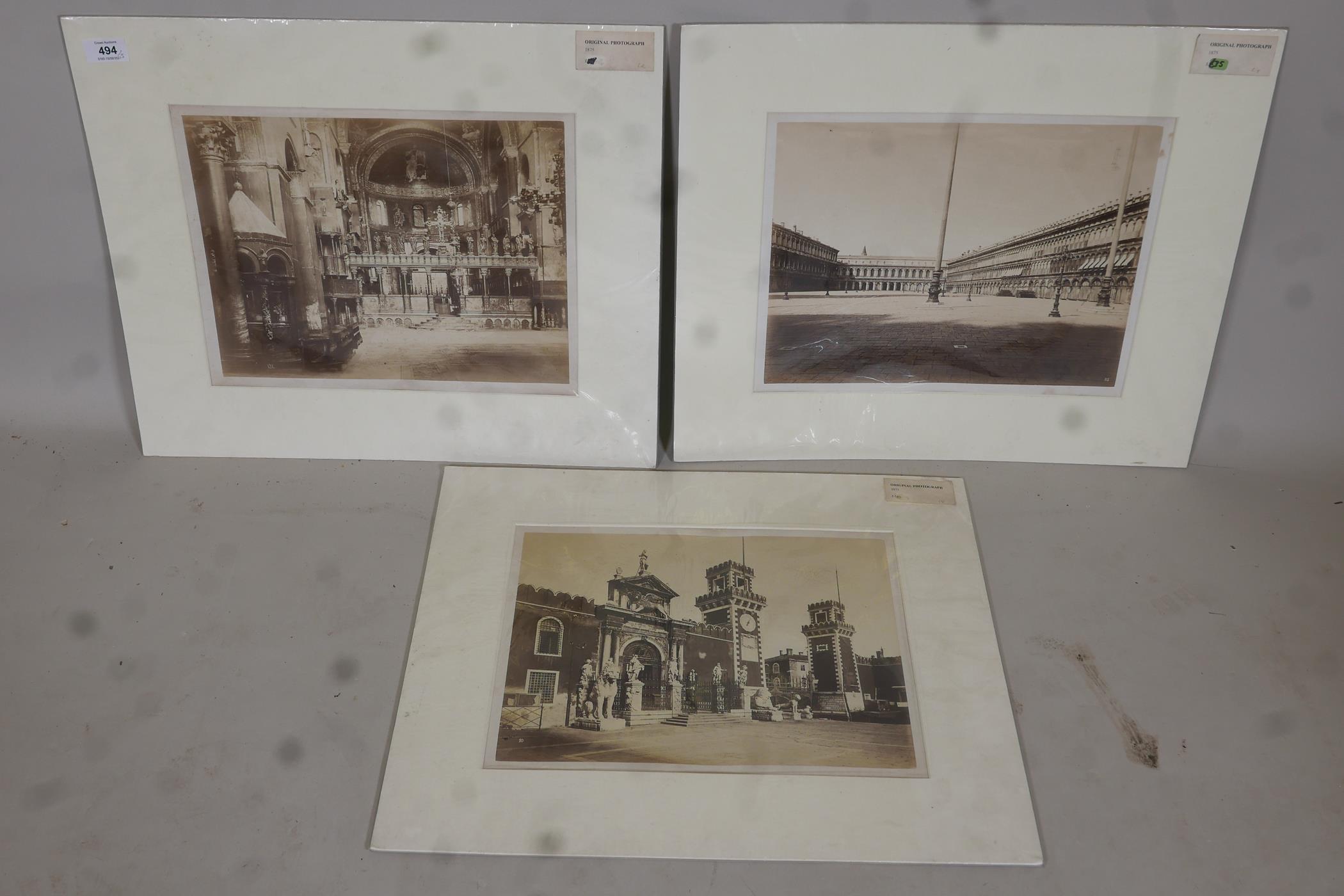 Three original sepia photographs of C19th Venice, Piazza di San Marco, the Basilica and the Arsenal,