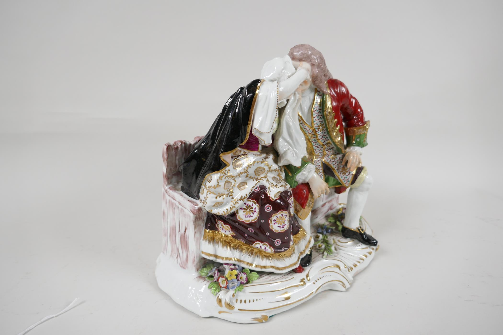 """A continental porcelain figure of a Regency couple seated on a bench, 10"""" wide - Image 3 of 5"""