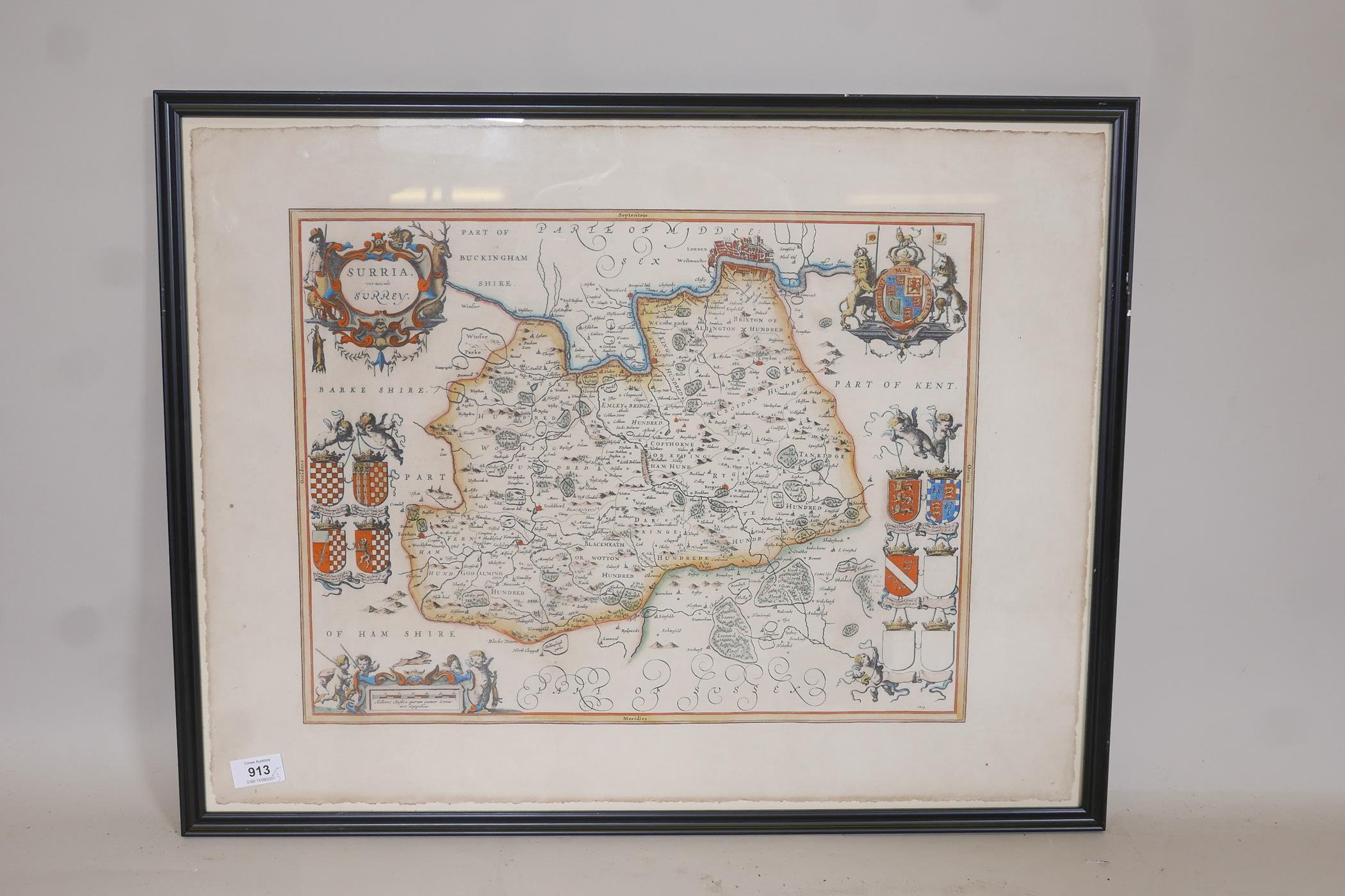 Map of Kent, Cantium vernacule Kent, and another of Surrey, Surria vernacule Surrey, both hand - Image 3 of 5