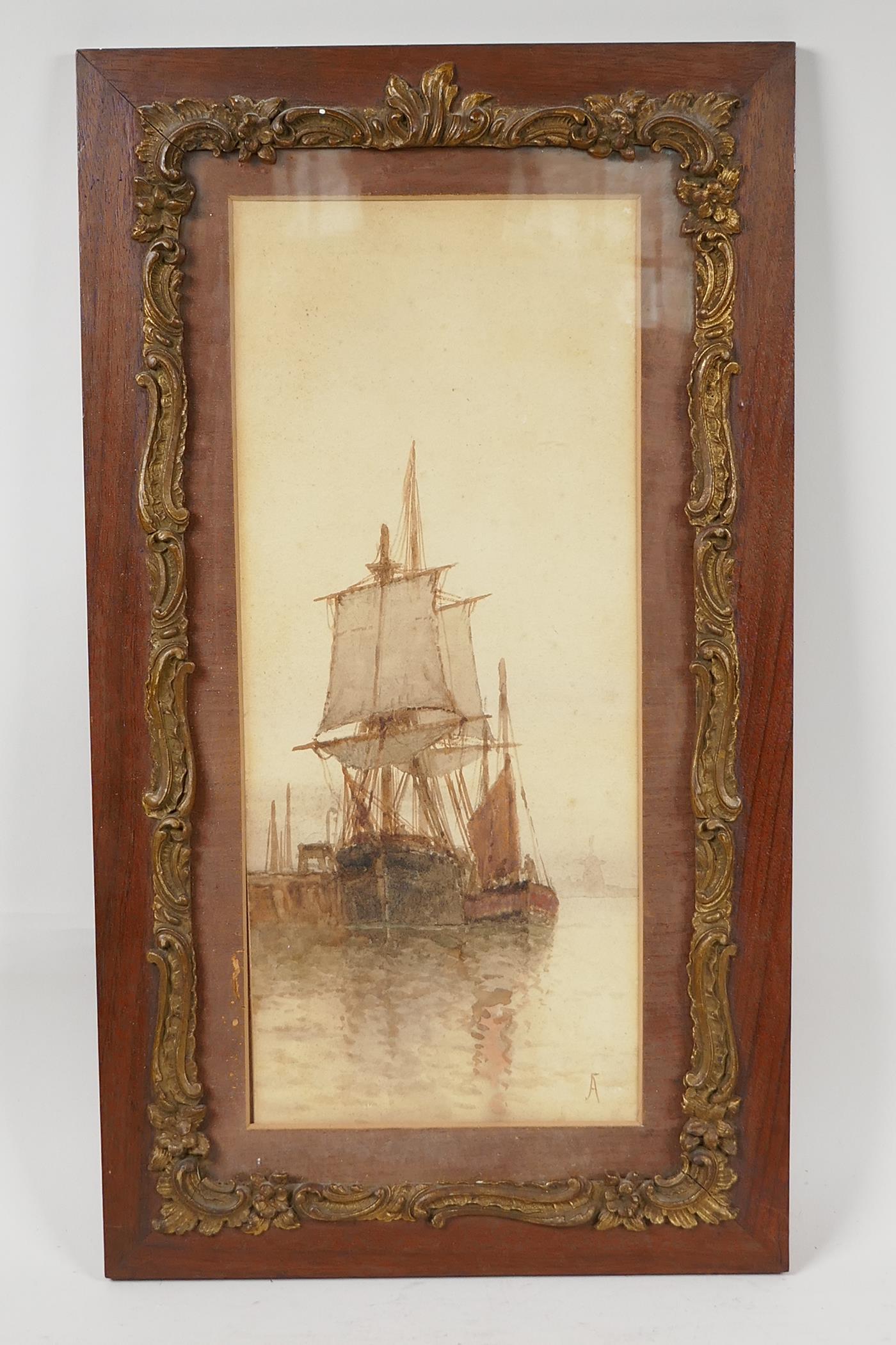 "F.J. Aldridge, sailing vessels near a jetty, monogrammed, watercolour, 14"" x 6"" - Image 2 of 4"
