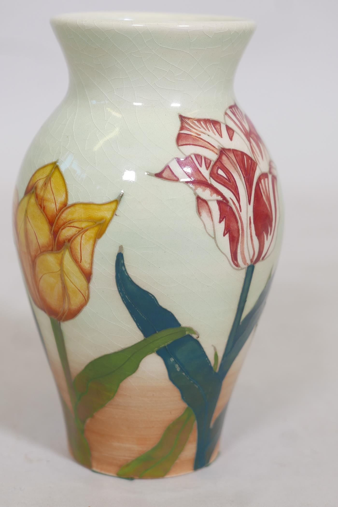 """A Dennis China Works Sally Tuffin Tulip design vase, impressed RMC 97, inscribed No 15, 8"""" high - Image 3 of 4"""
