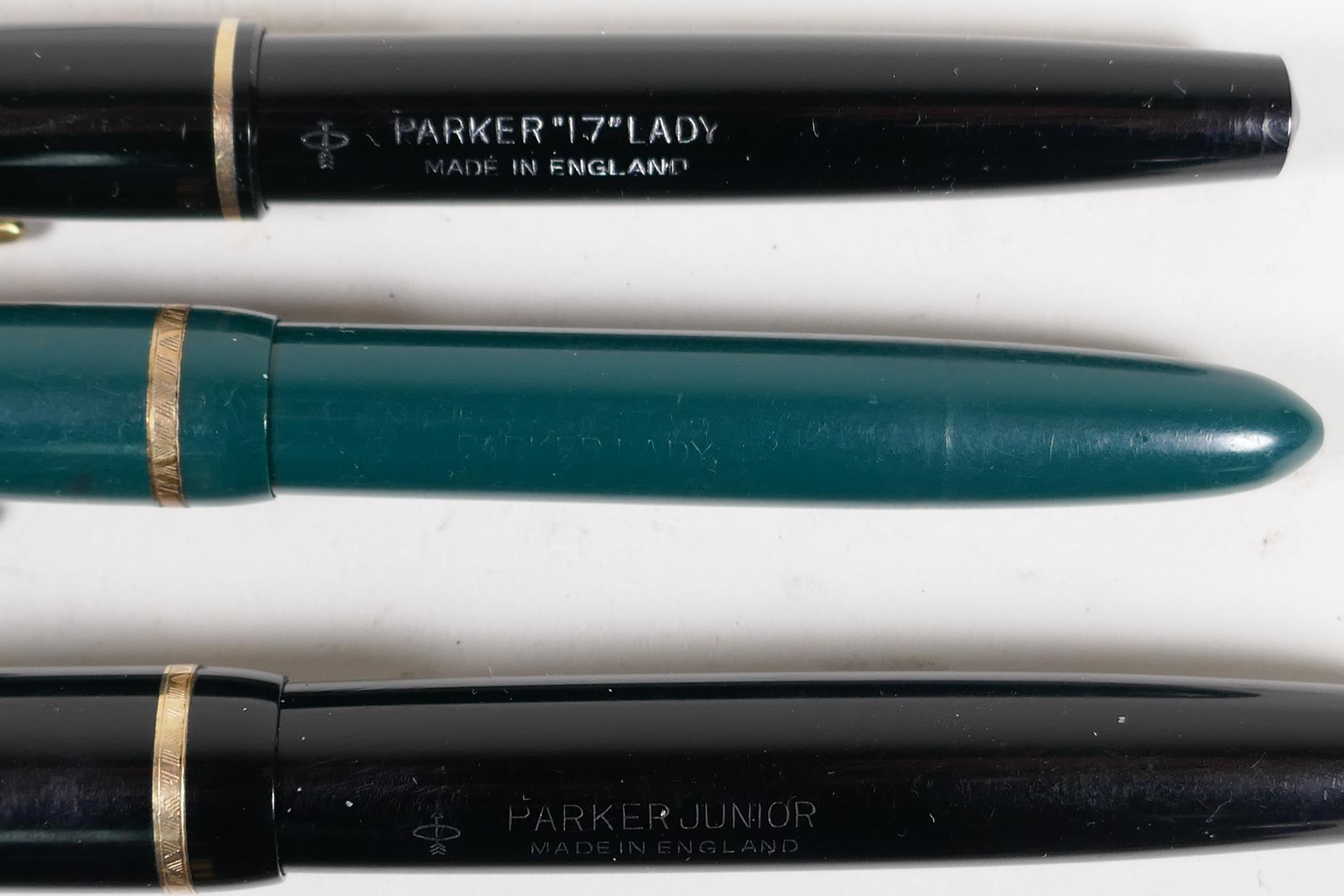 An assortment of Parker fountain pens, including two 'Maxima Duofold', three 'Duofold', two 'lady' - Image 6 of 9