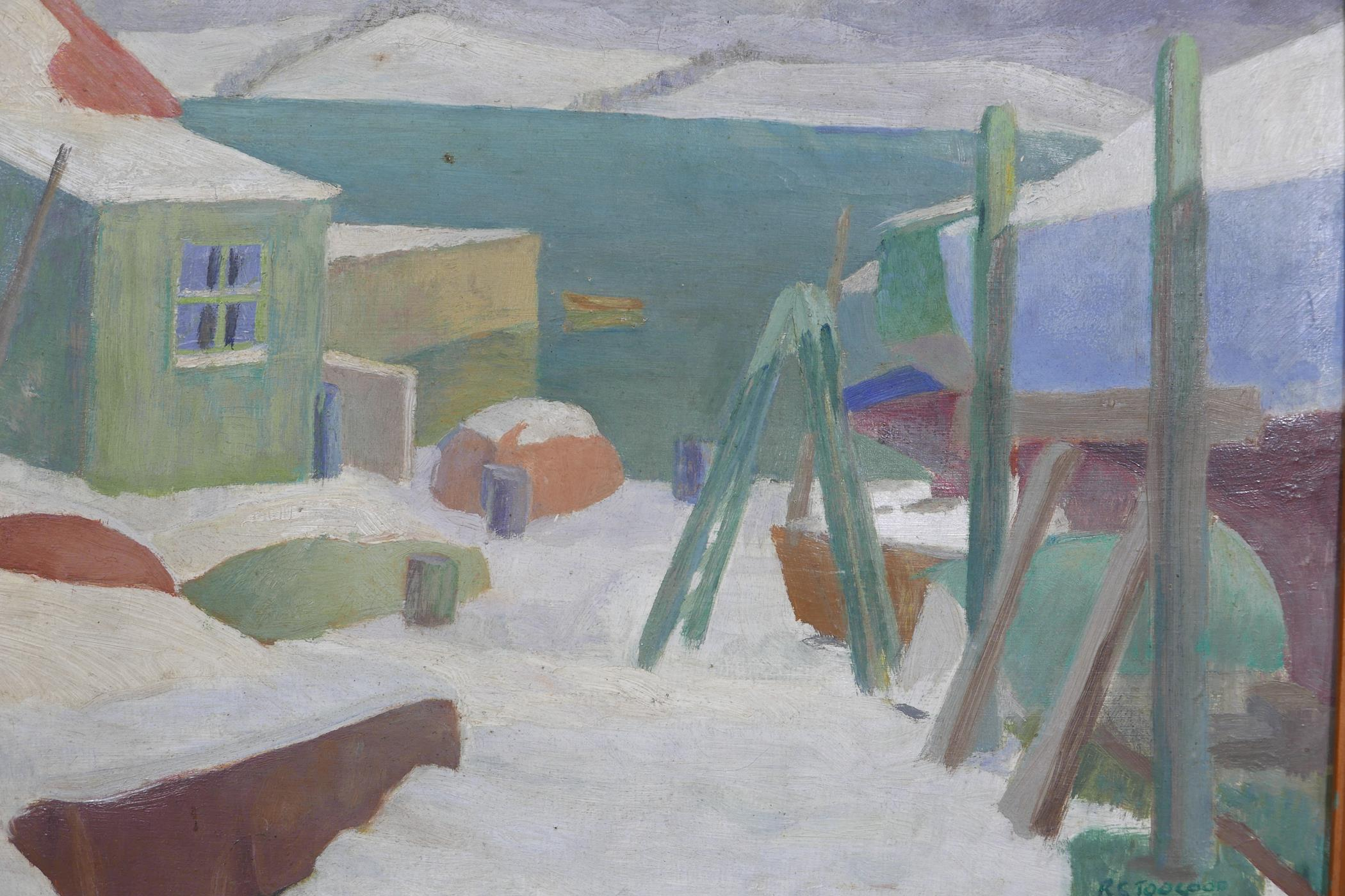 Romeo Charles Toogood, (Irish), harbour scene under snow, signed and dated 1958, inscribed verso,