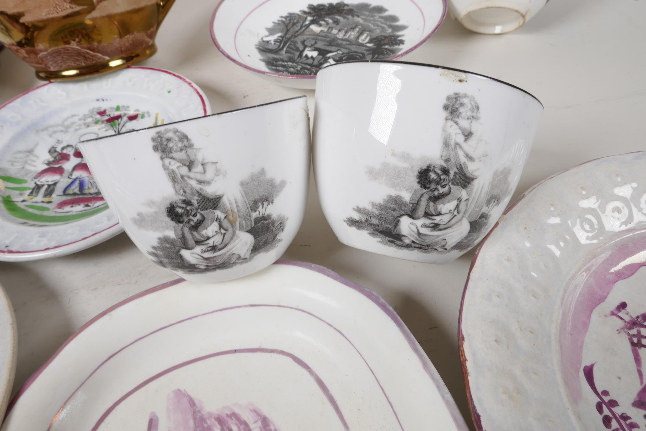 """A collection of C19th lustreware porcelain to include a Sunderland 'Flying Cloud' plaque, 9"""" x - Image 7 of 7"""