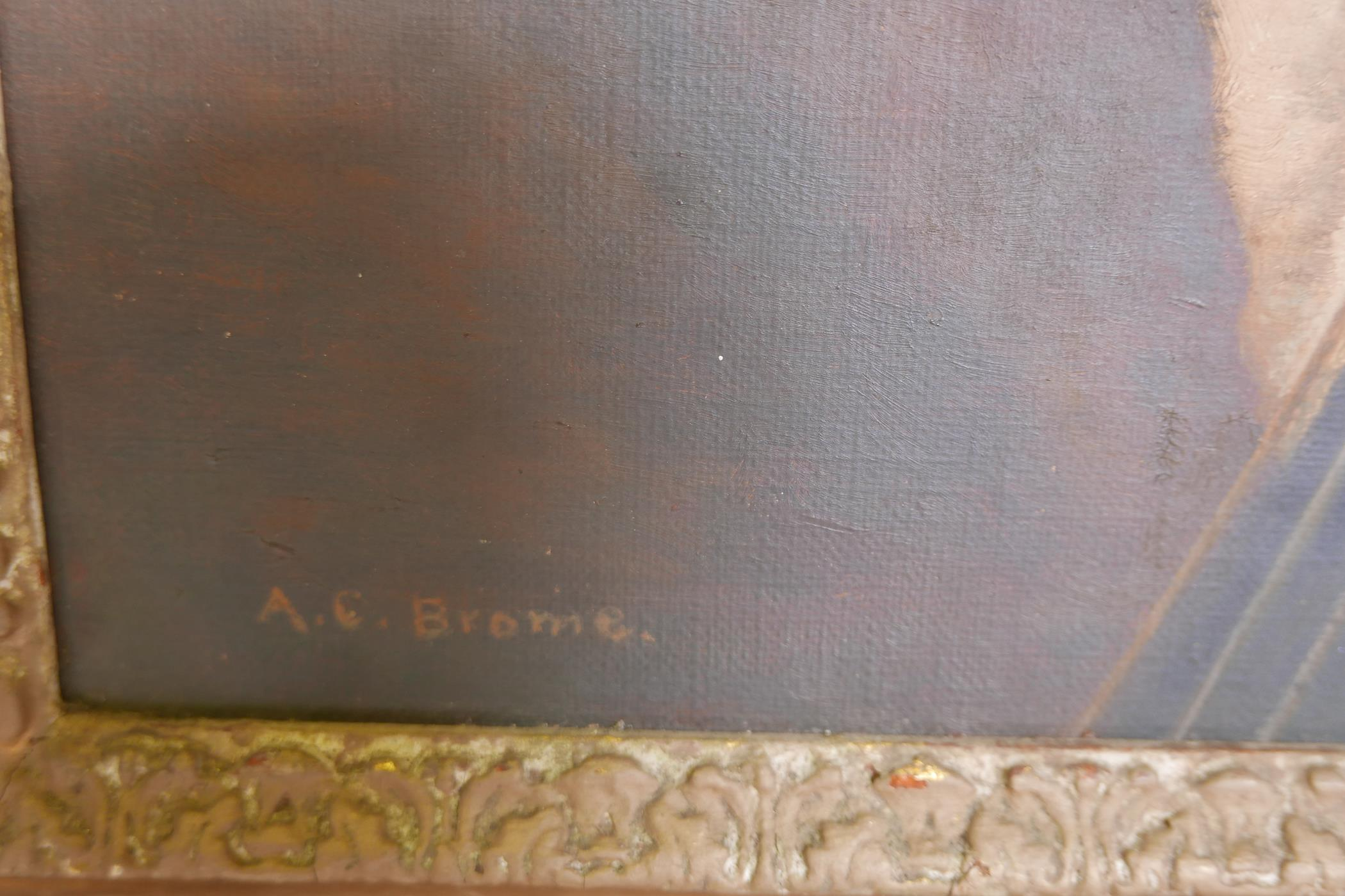 """A.C. Brome (Miss Adele Cecilia), The Cellist, signed, early C20th oil on canvas laid on board, 15"""" x - Image 3 of 5"""