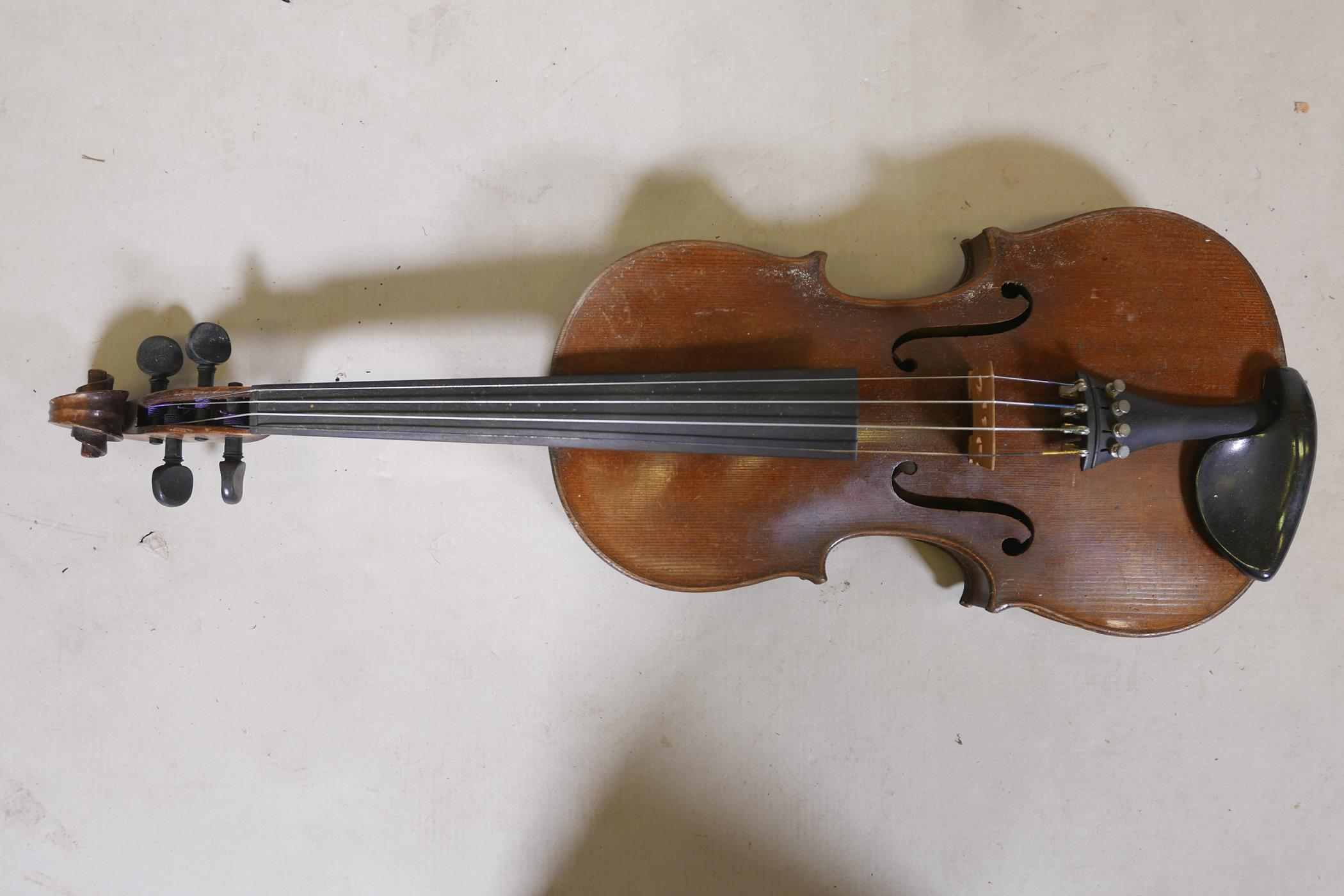 """A vintage violin and bow in case, 14½"""" back including button, 23½"""" long - Image 2 of 15"""
