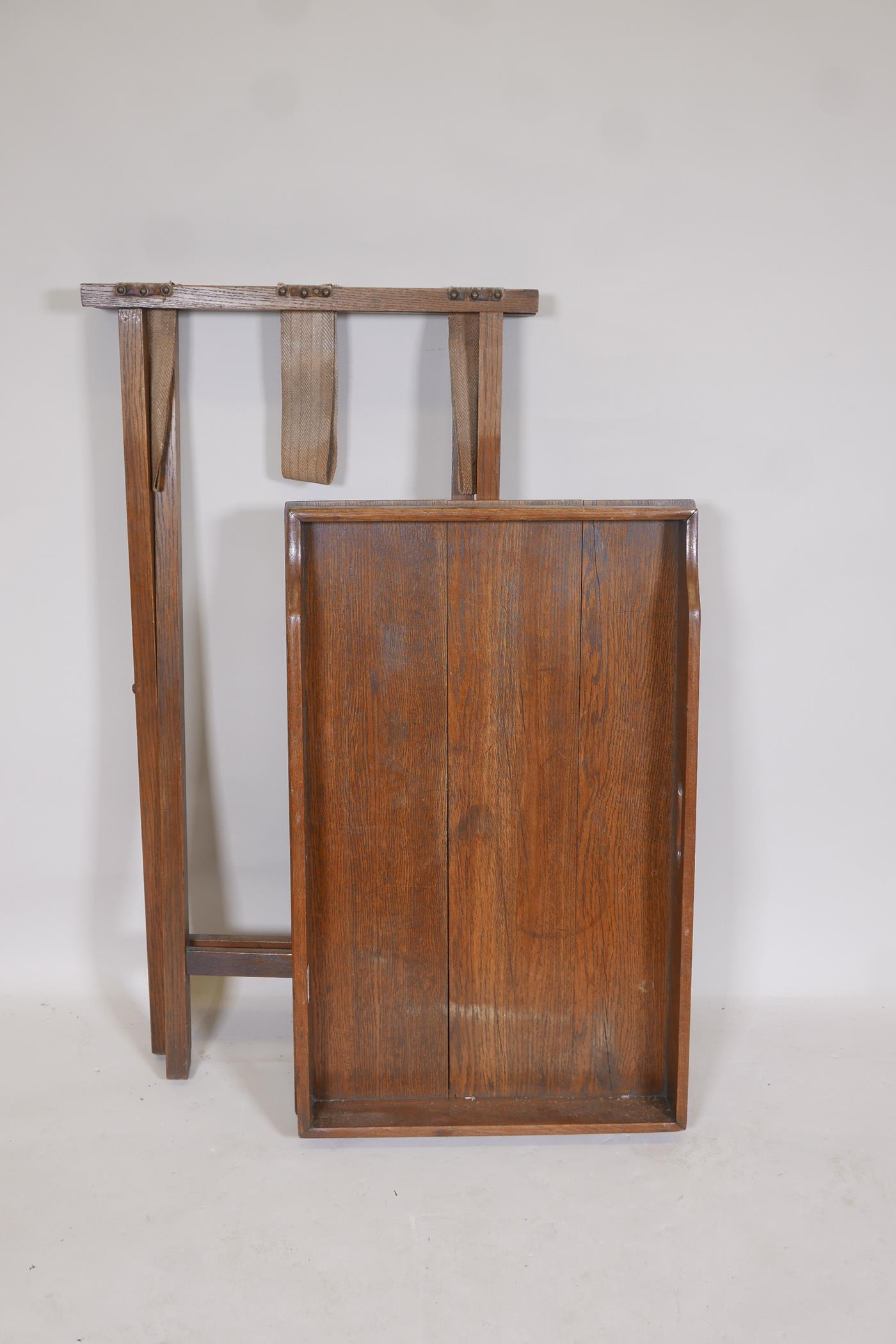 """A C19th oak butlers tray on stand, 33"""" x 27"""" x 17"""" - Image 2 of 2"""