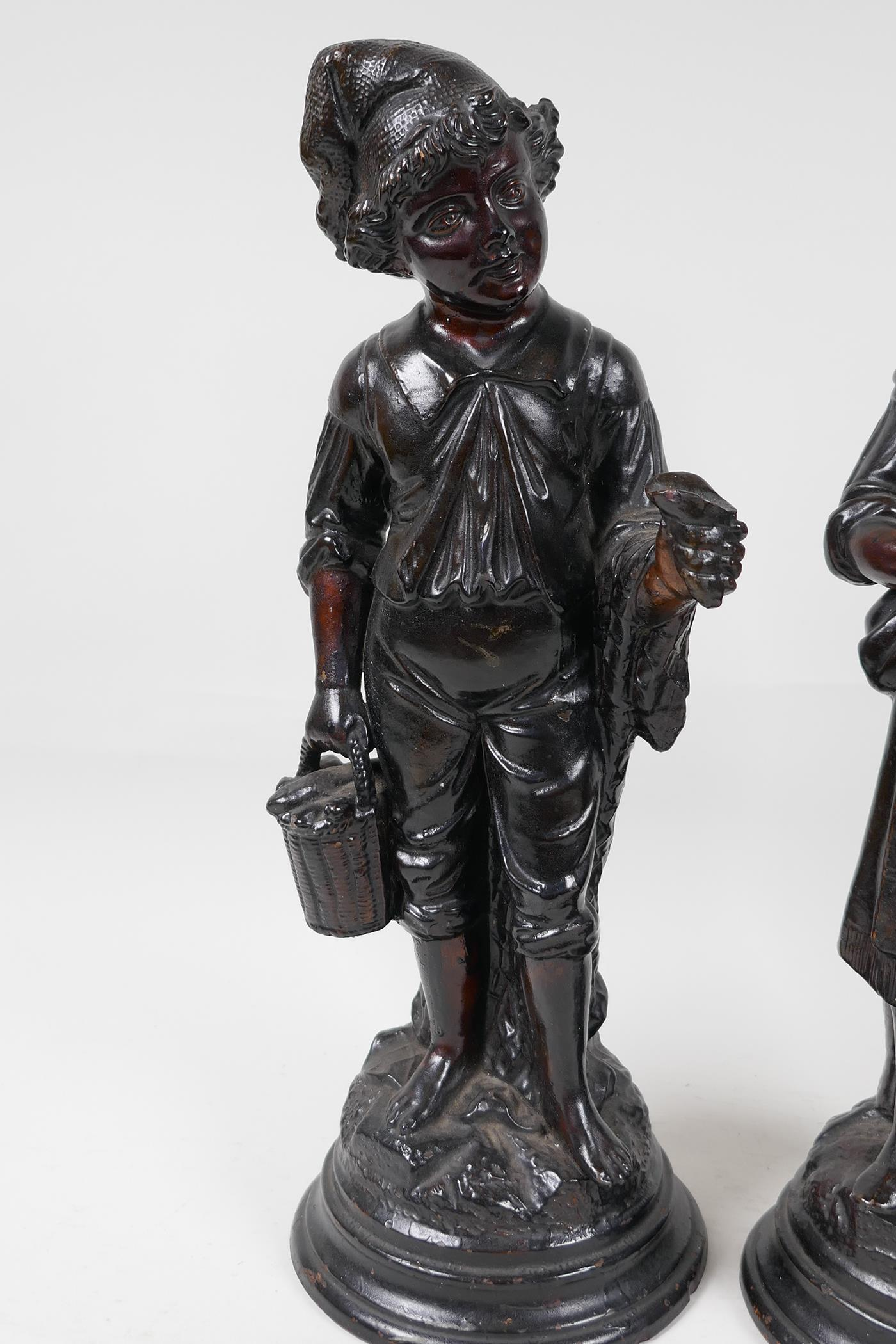 """A pair of French C19th brown glazed earthenware figures, marked HB (Quimper) G75, 13"""" high - Image 2 of 4"""