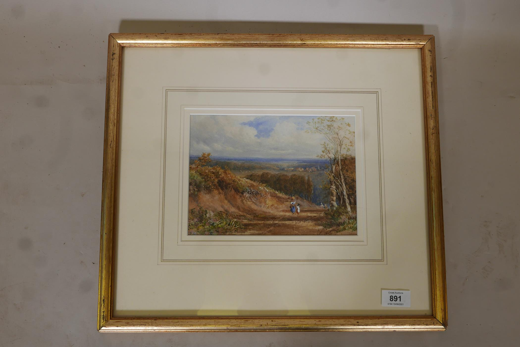 Extensive landscape with figures on a path, signed indistinctly Cath Huggiss ?, C19th watercolour, - Image 3 of 5
