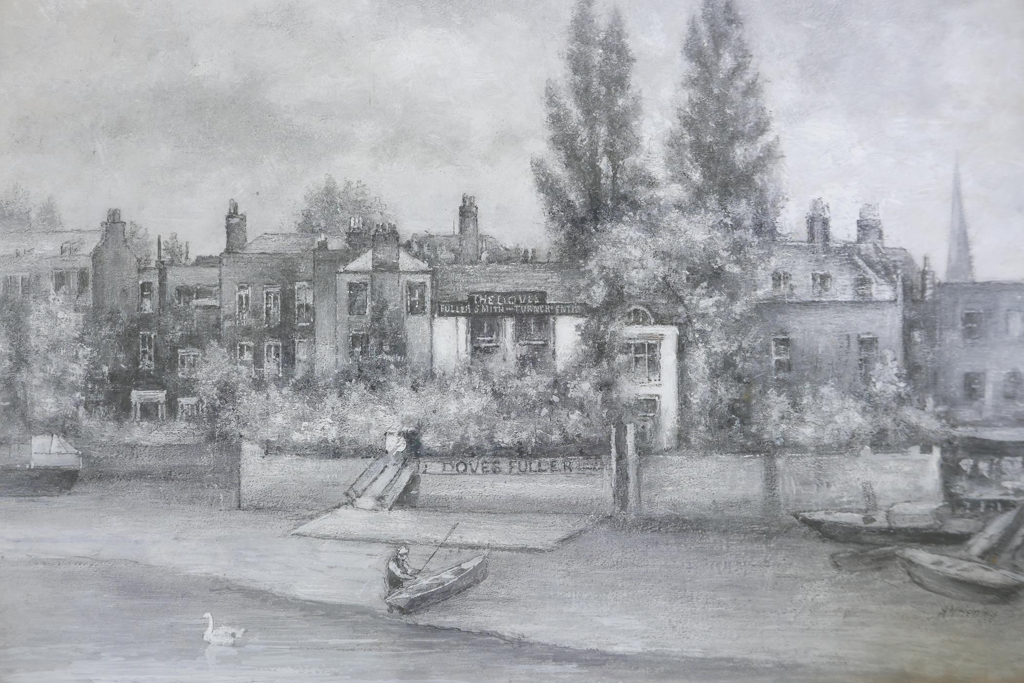 """A.W. Henley, View of the Thames at Hammersmith with The Dove public house, signed gouache, 11 """" x"""