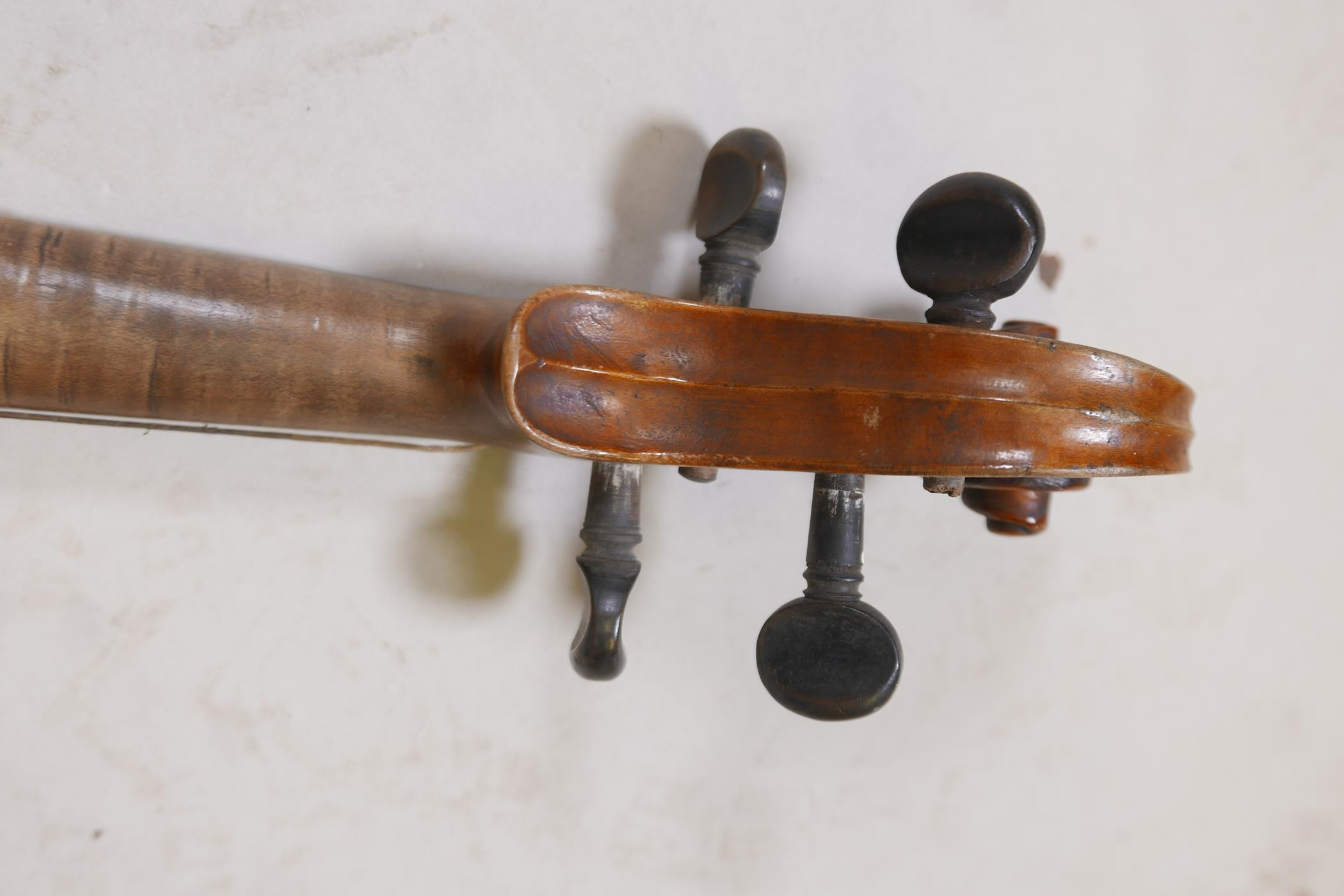 """An antique violin and bow in case, bears label Andreas Amati fecit, Cremonae anno 1604, back 14½"""" - Image 7 of 14"""