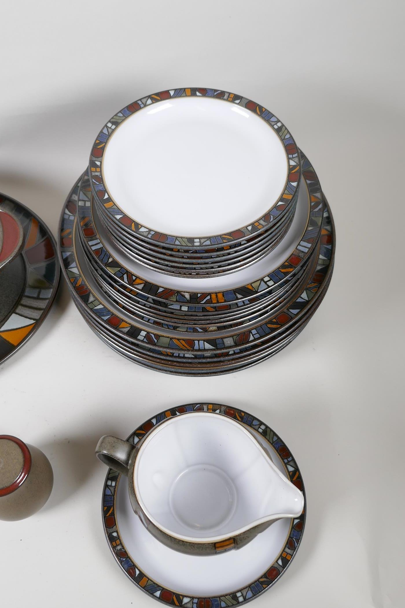 A Denby 'Marrakesh' six setting dinner service, with a pair of condiments, gravy jug, vegetable - Image 2 of 6
