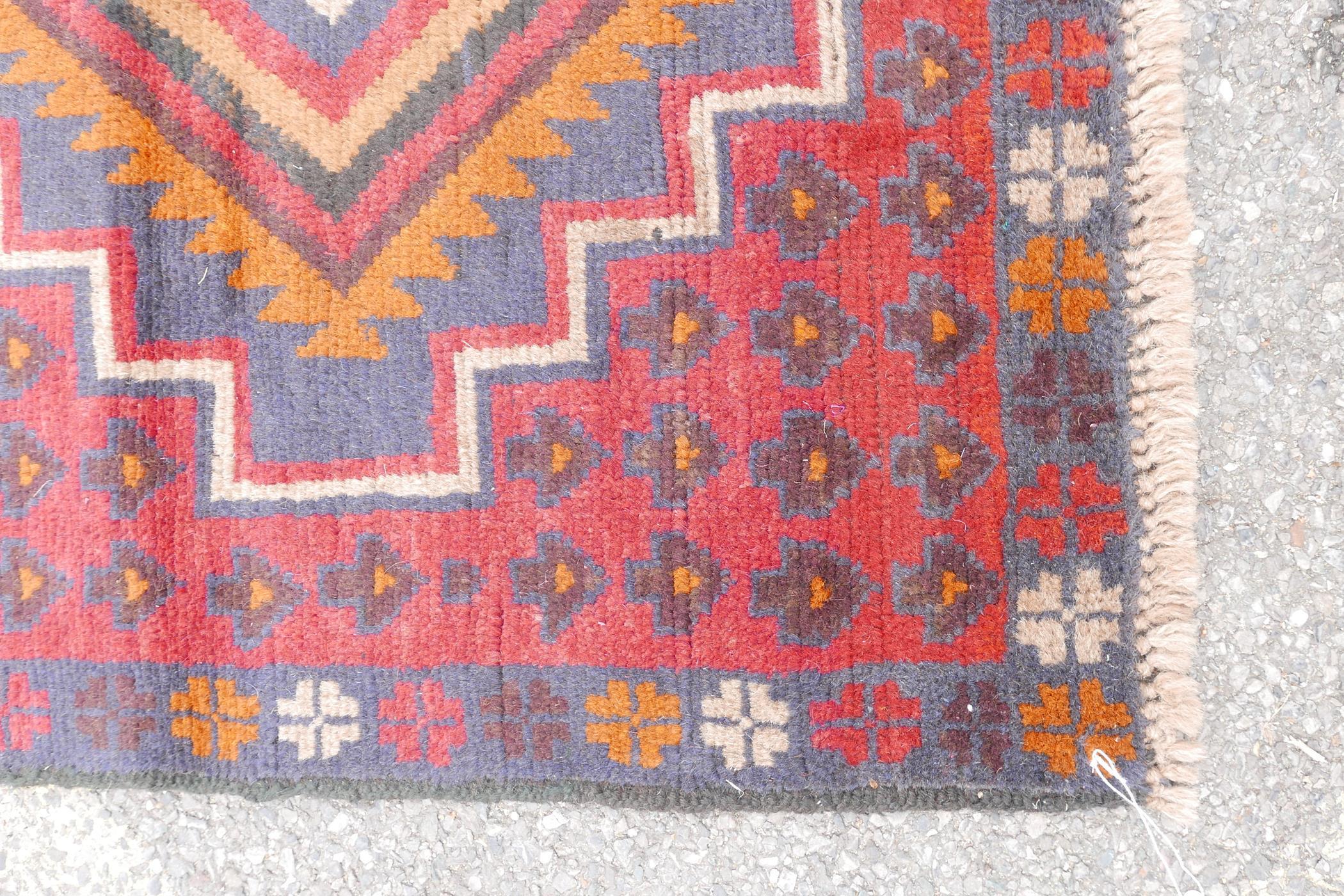 "Full pile red ground Afghan Belouch nomadic rug, 35"" x 56"" - Image 3 of 4"