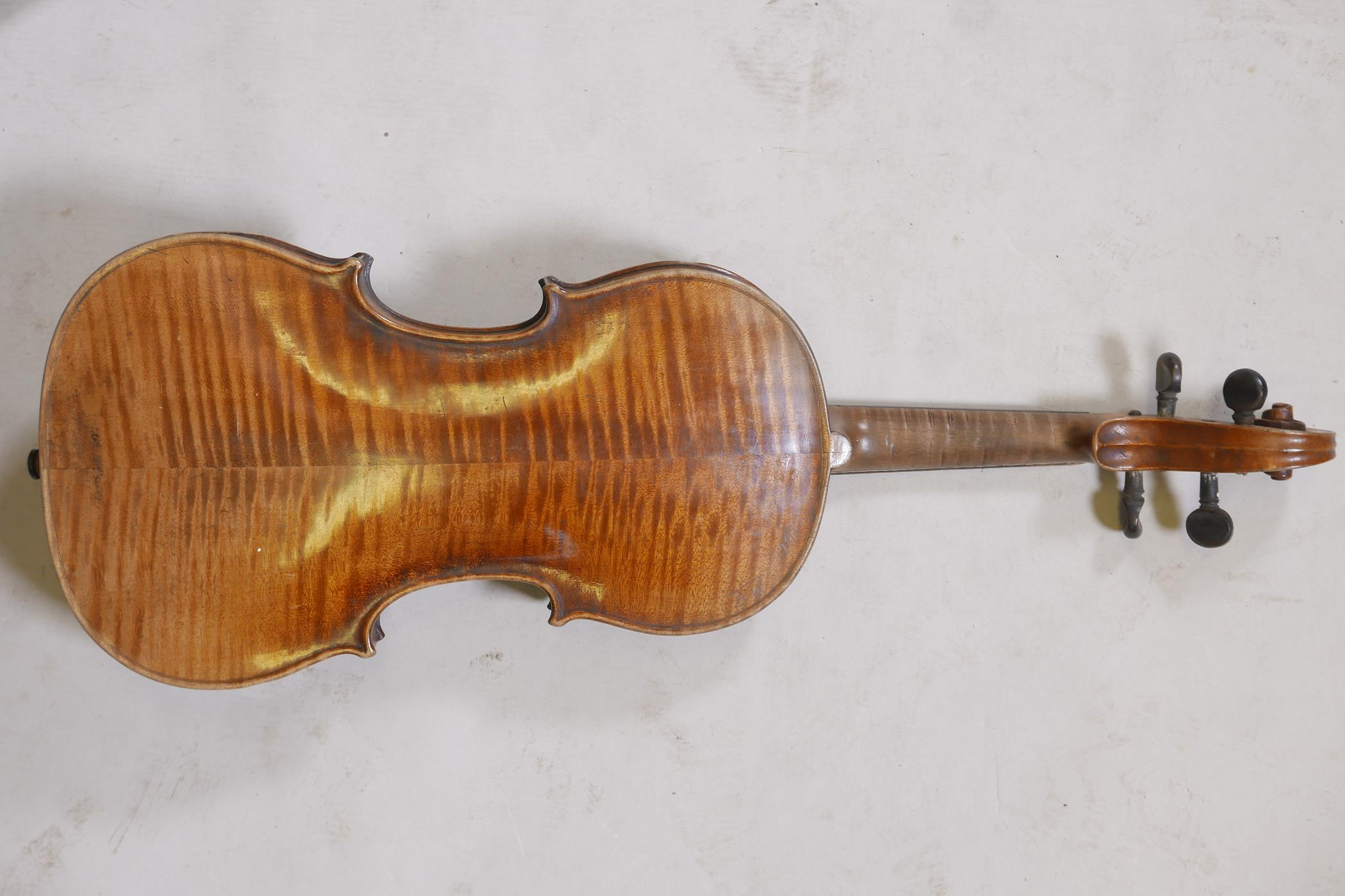 """An antique violin and bow in case, bears label Andreas Amati fecit, Cremonae anno 1604, back 14½"""" - Image 3 of 14"""