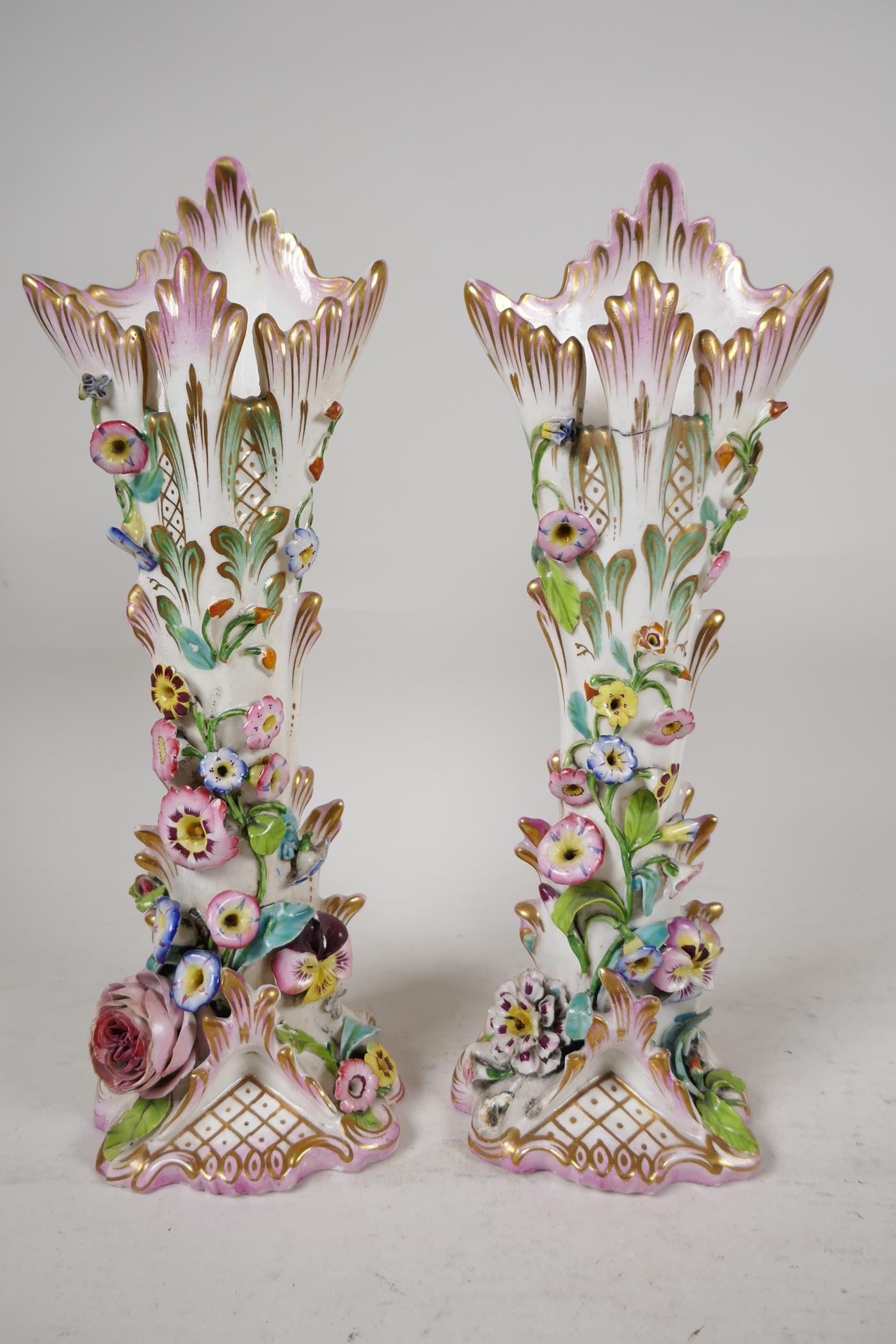 """A pair of C19th flower encrusted spill vases, A/F, 10"""" high"""