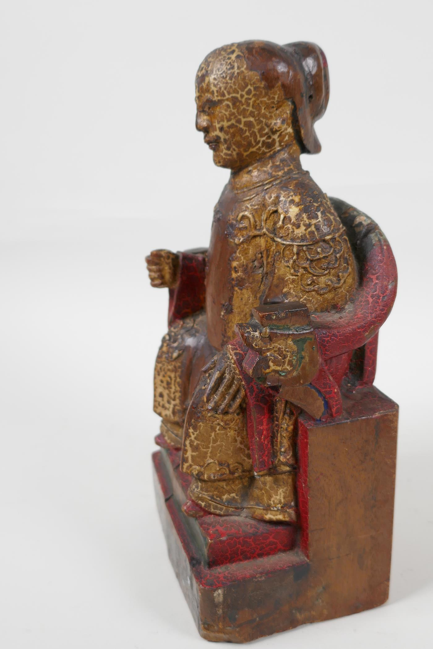 """A Chinese carved wood figure of a dignitary seated on a throne, traces of paint, 9"""" high - Image 3 of 6"""