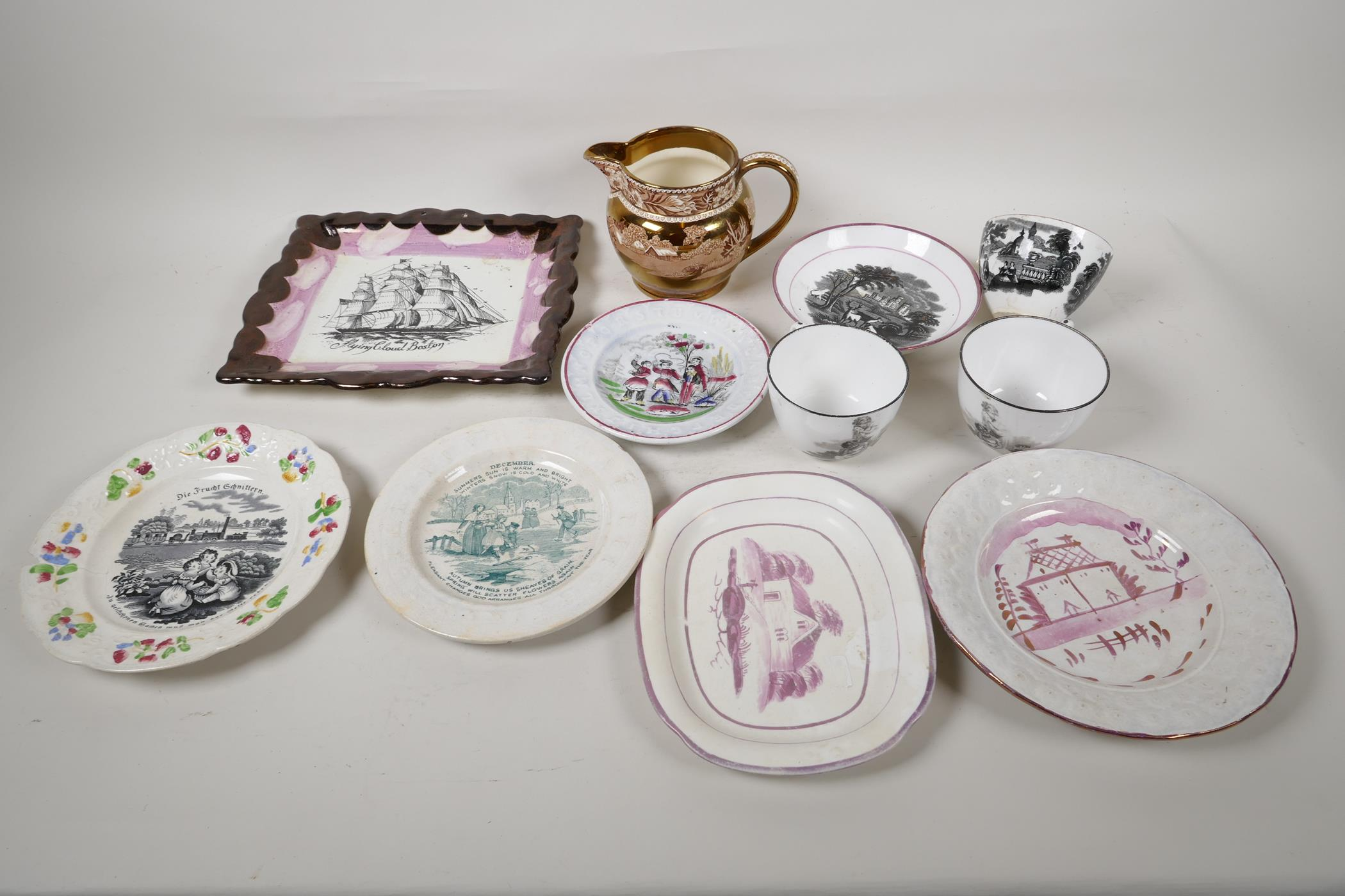 """A collection of C19th lustreware porcelain to include a Sunderland 'Flying Cloud' plaque, 9"""" x"""