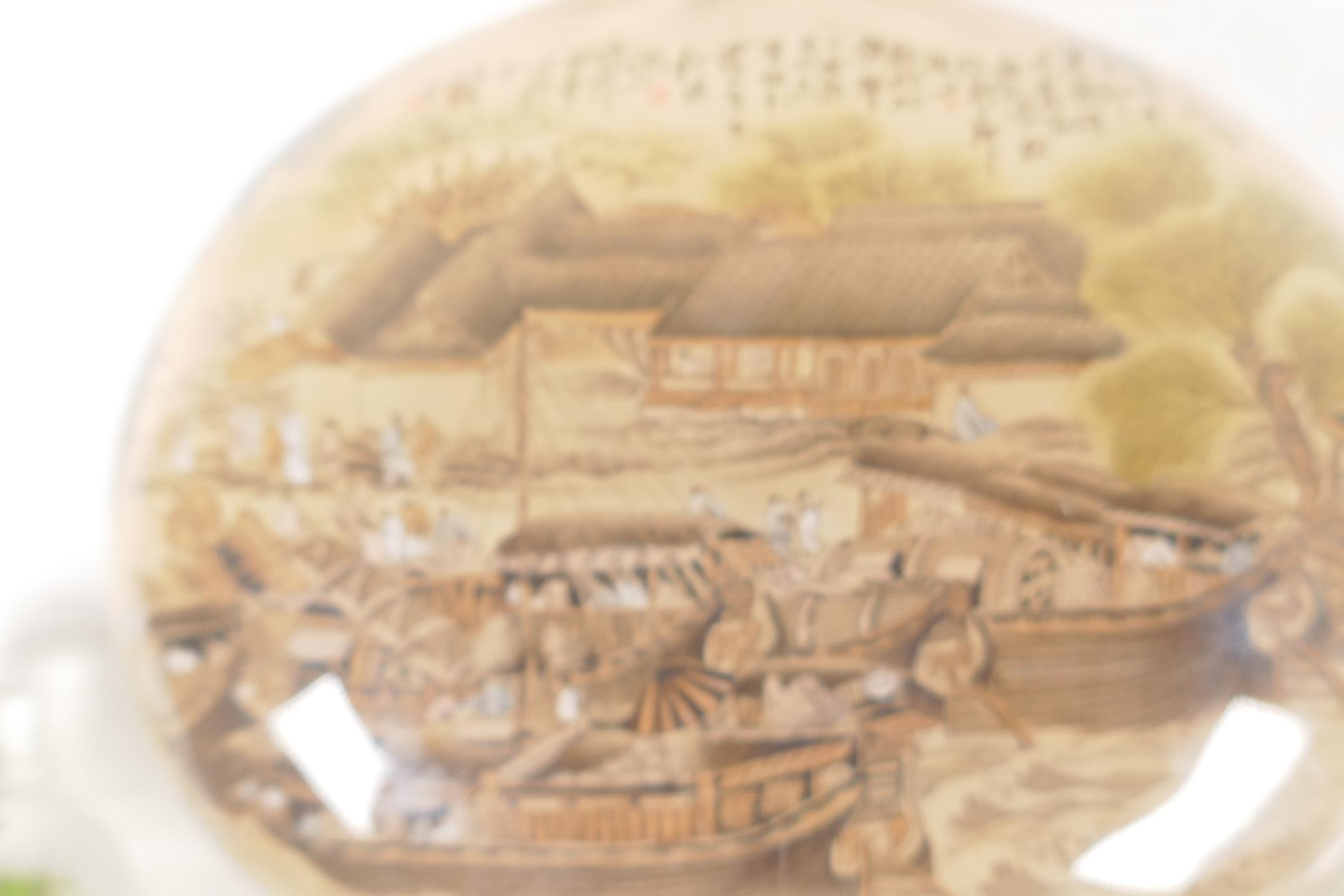 A large Chinese interior decorated snuff bottle depicting a harbour scene and figures on a bridge, - Image 4 of 5