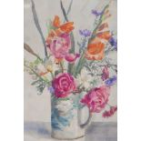 """Betty Taylor, still life vase of flowers, signed, watercolour, A/F minor damage top right, 17"""" x 14"""""""