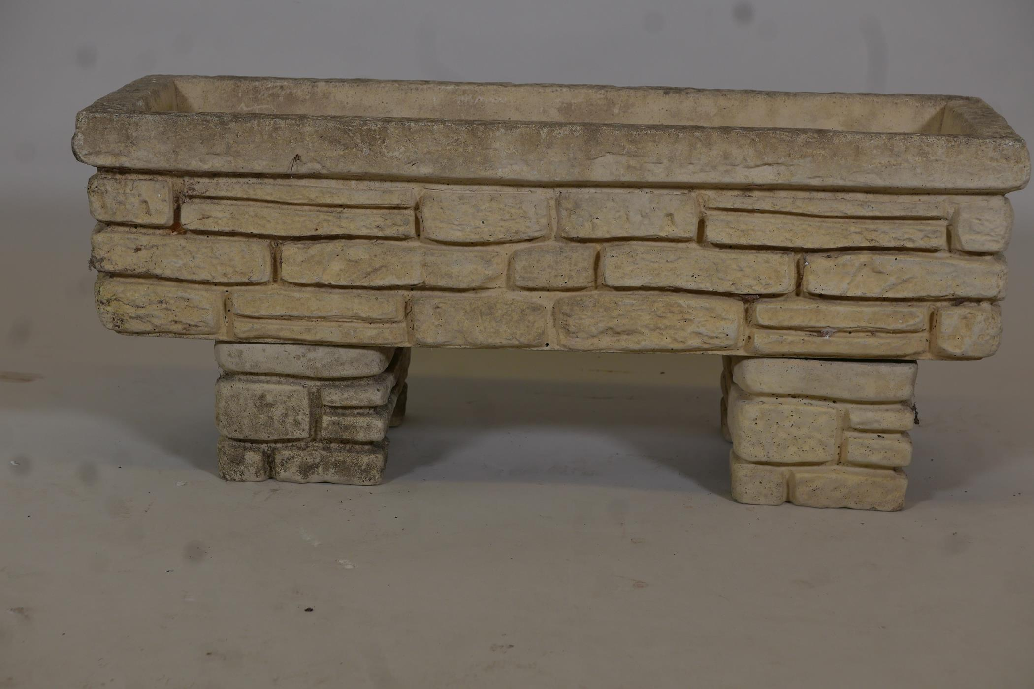 """A reconstituted stone planter moulded as Cotswold stone, 30"""" x 10"""" - Image 2 of 3"""