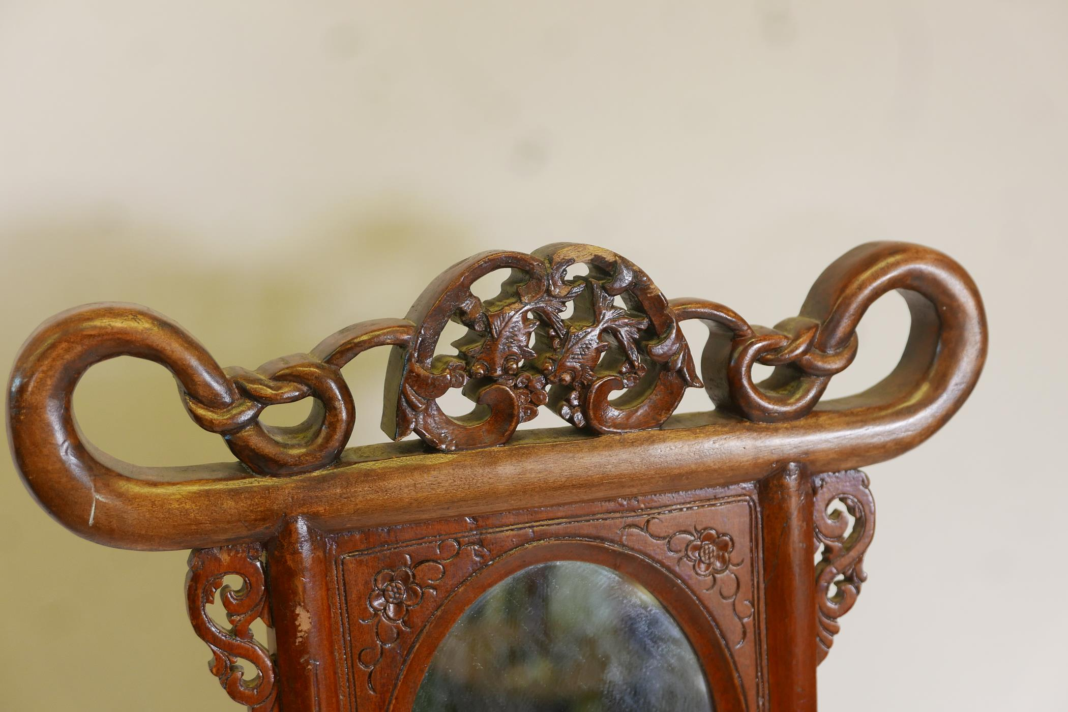 A Chinese hardwood wash stand with carved goldfish detail and inset mirror, the legs united by a - Image 4 of 4