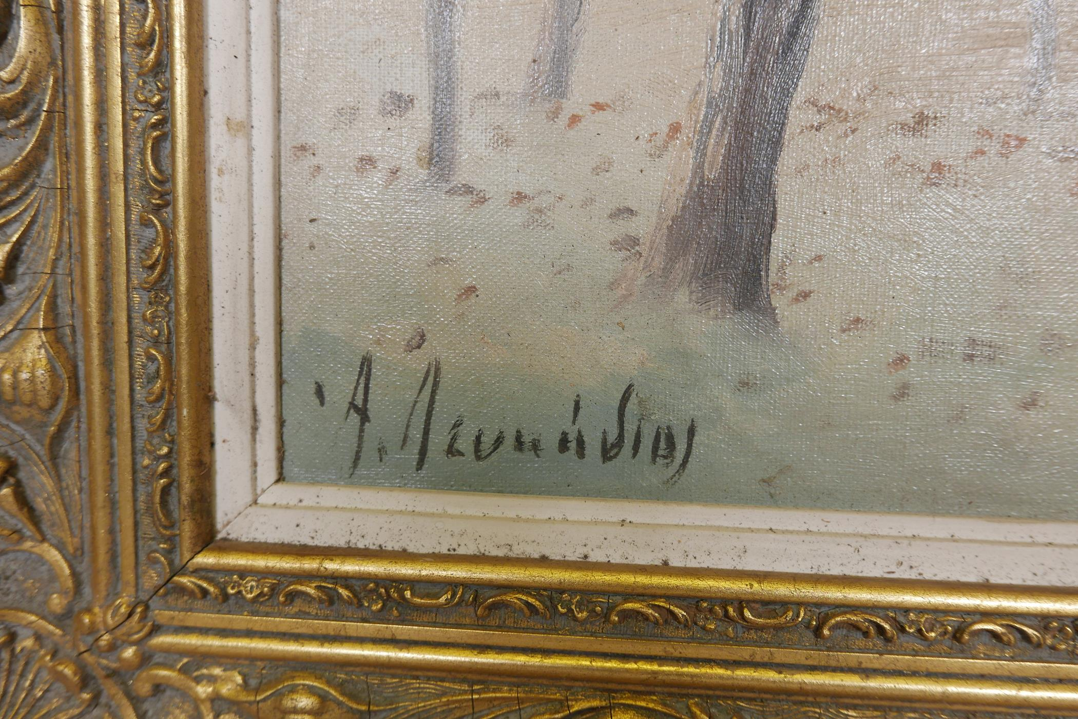 """Winter landscape, oil on board, signed A. Leukedios ?, Greek, early C20th, 18"""" x 11"""" - Image 3 of 5"""