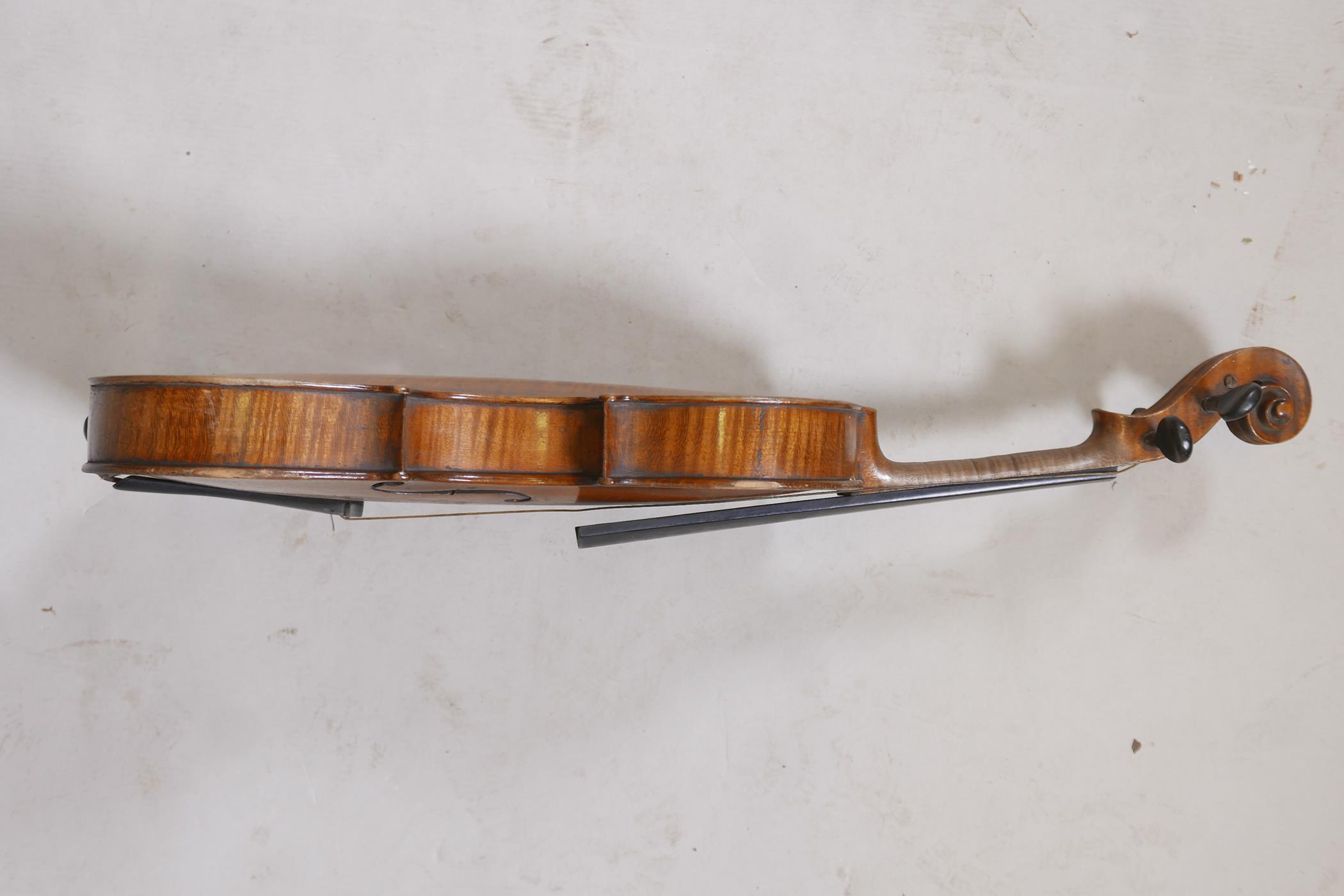 """An antique violin and bow in case, bears label Andreas Amati fecit, Cremonae anno 1604, back 14½"""" - Image 5 of 14"""