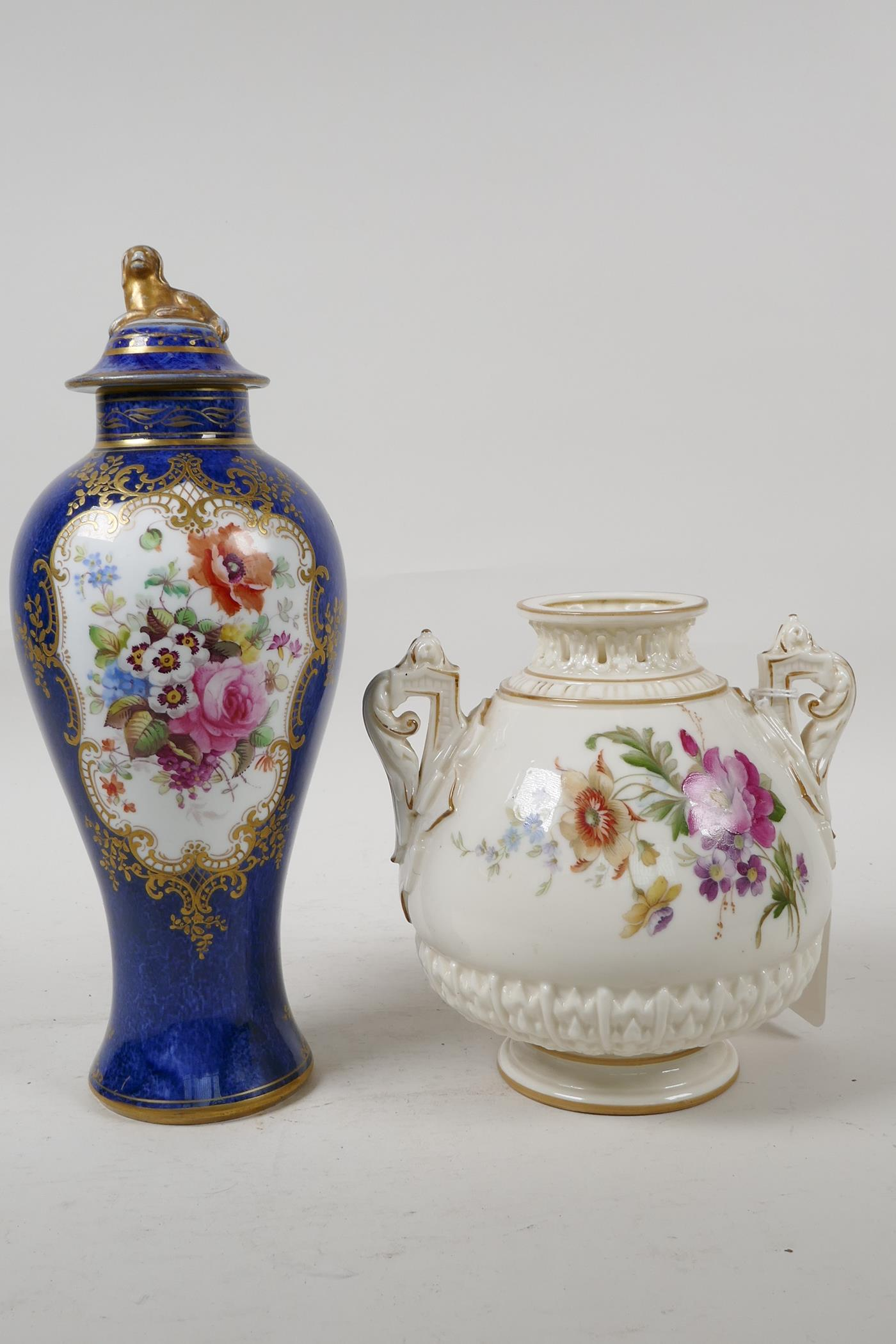 """A Royal Worcester vase with two handles and reticulated neck, 6"""" high, and a porcelain vase"""