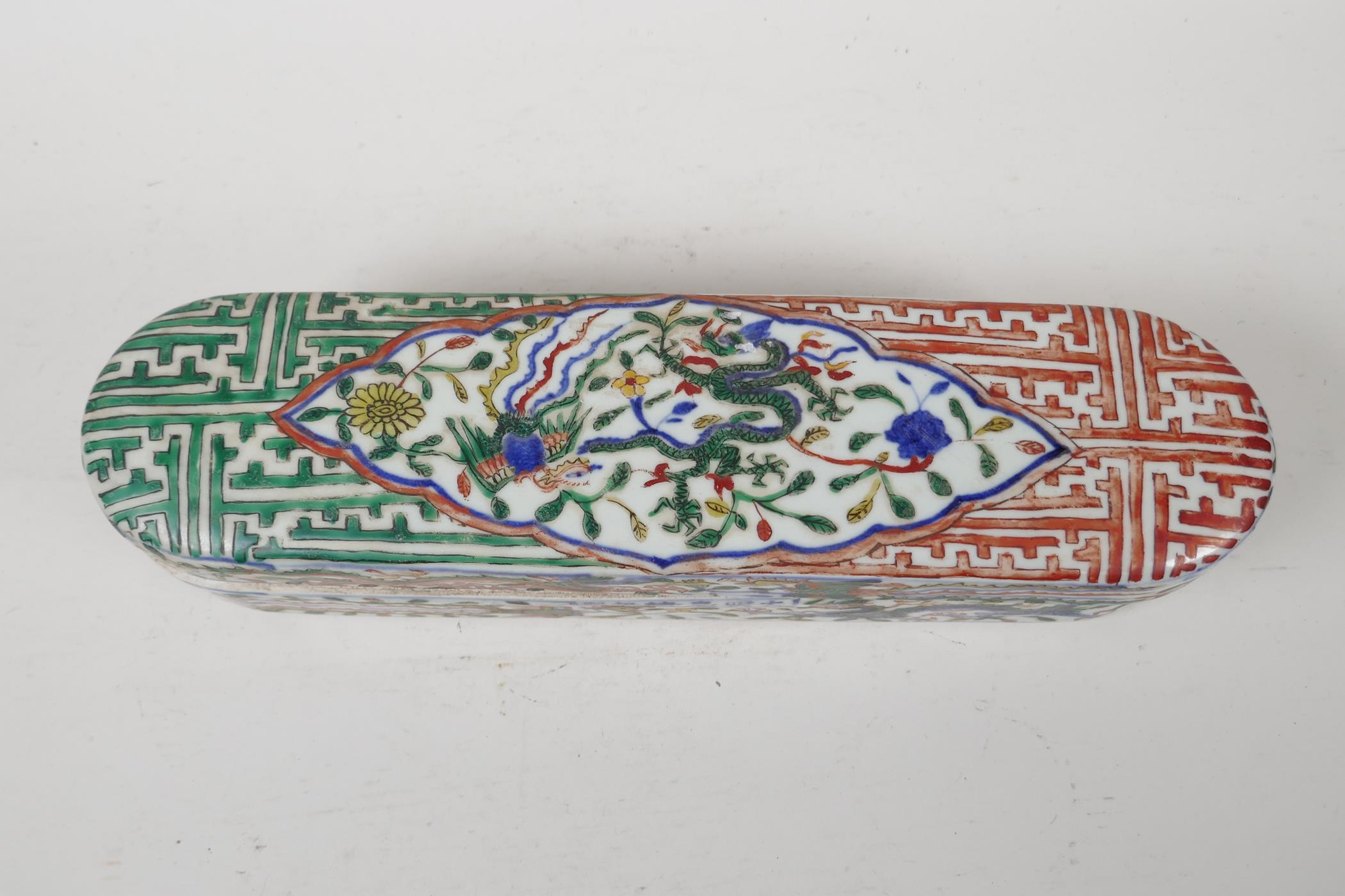 A wucai porcelain scribes box with dragon and phoenix decoration, six character mark to side, - Image 2 of 5