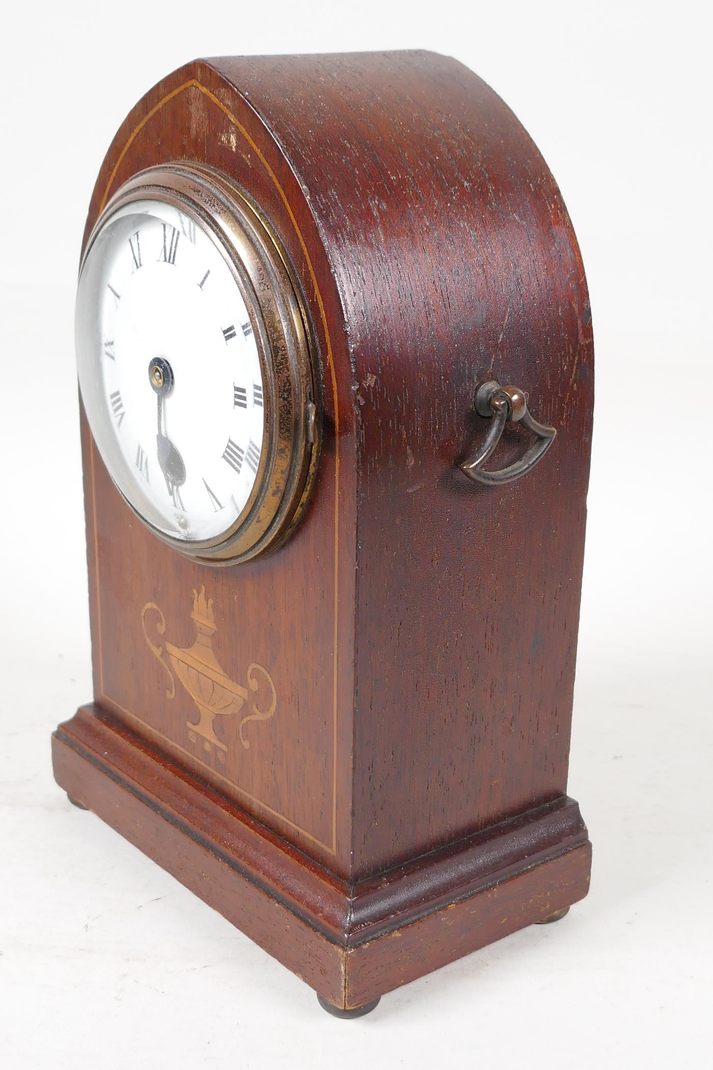 """An inlaid mahogany cased lancet mantel clock with enamelled dial and Roman numerals, 8"""" high - Image 2 of 3"""