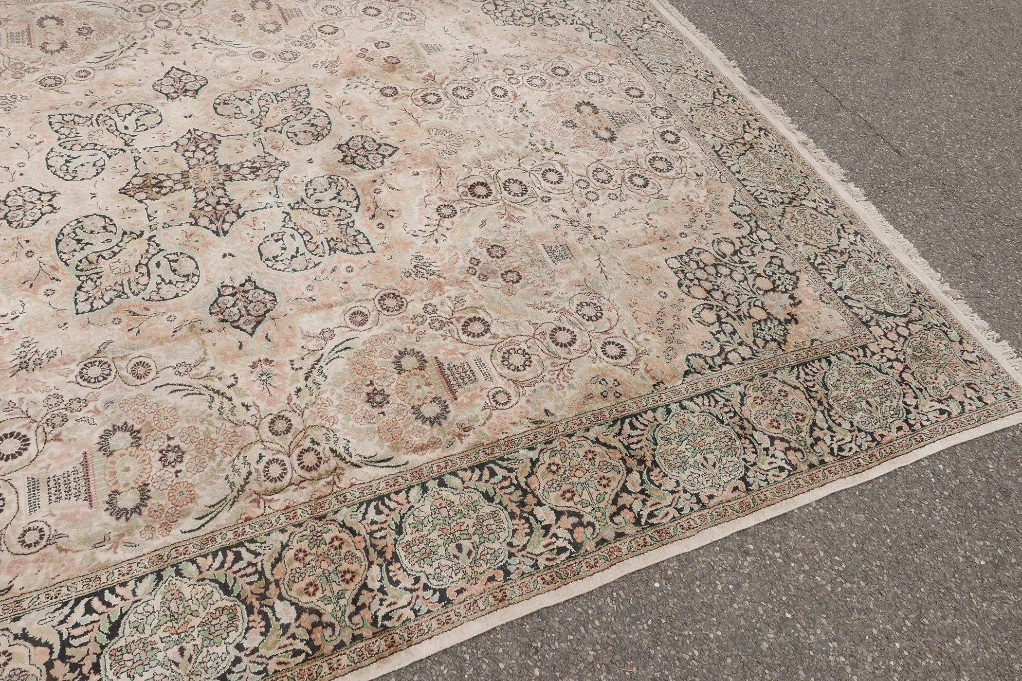 """An oriental ivory ground silk carpet, with multicolour floral decoration within a black border, 151"""" - Image 4 of 6"""