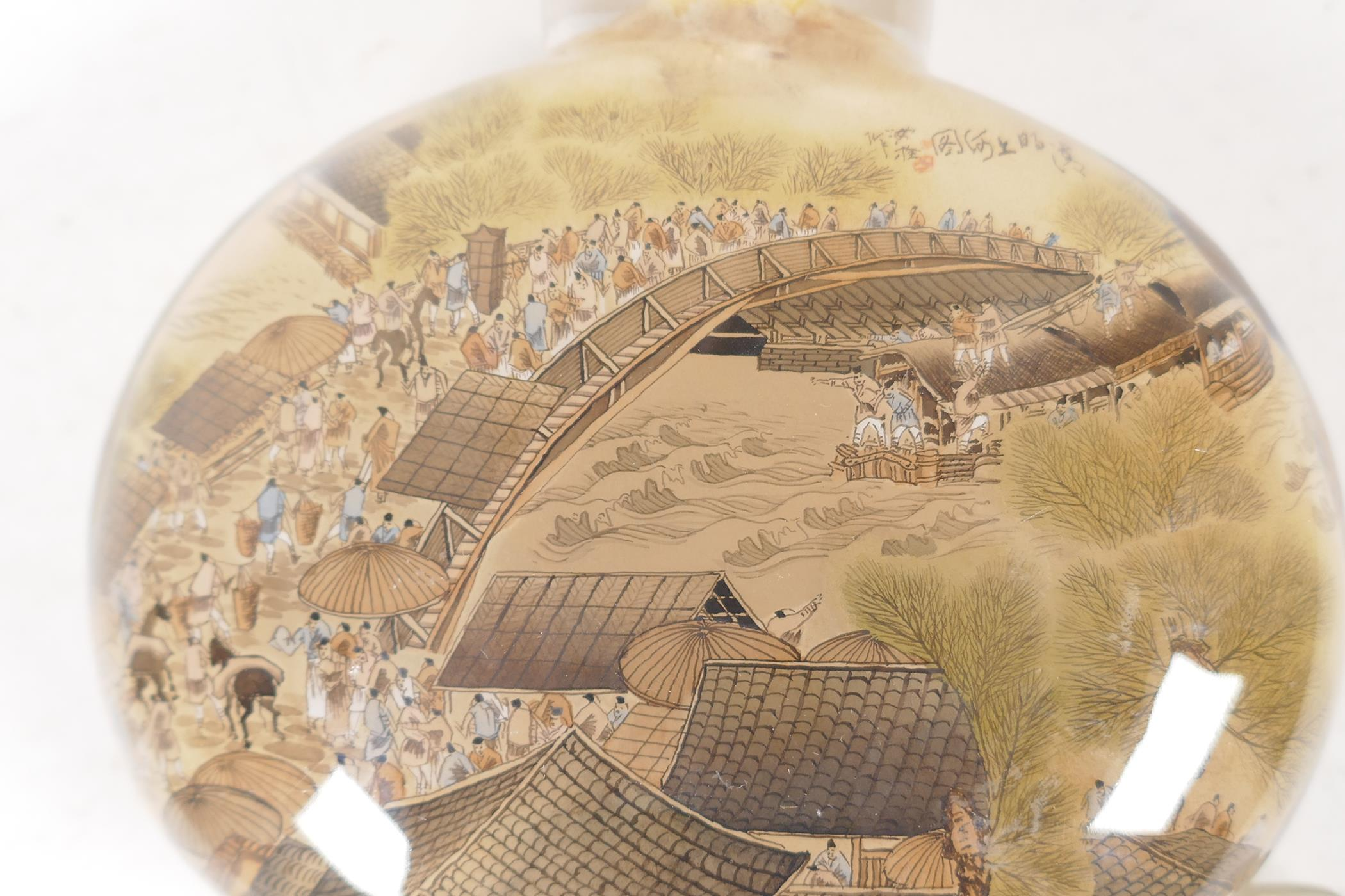 A large Chinese interior decorated snuff bottle depicting a harbour scene and figures on a bridge, - Image 5 of 5