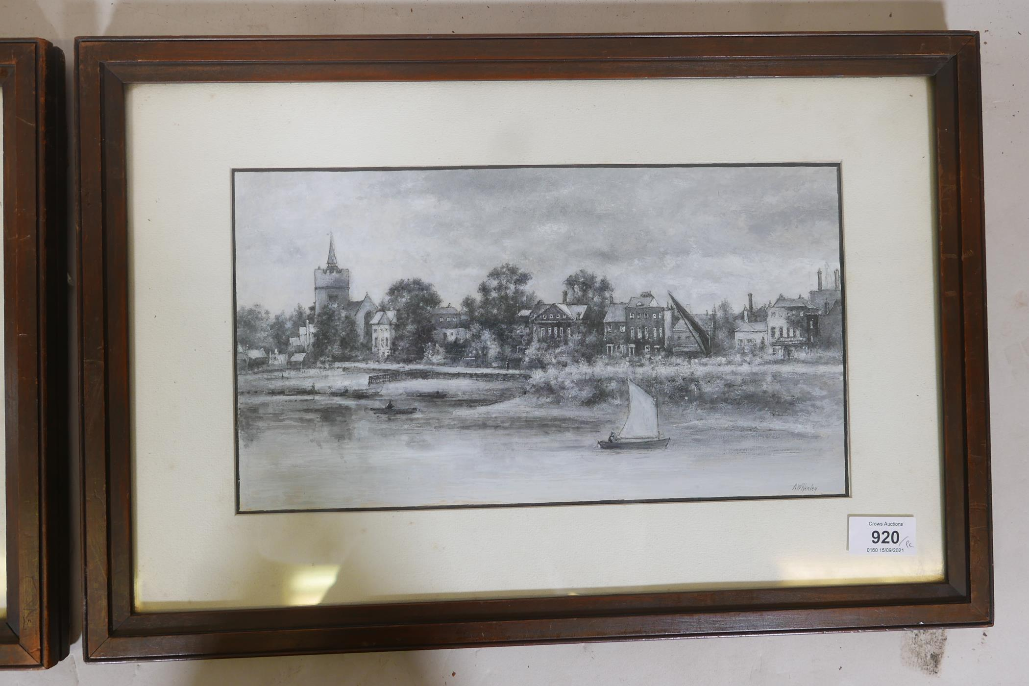 """A.W. Henley, View of the Thames at Hammersmith with The Dove public house, signed gouache, 11 """" x - Image 4 of 5"""