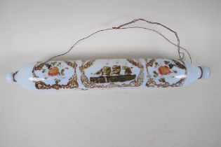 """A Victorian milk glass rolling pin, painted with flowers and a three masted ship, 14"""" long"""