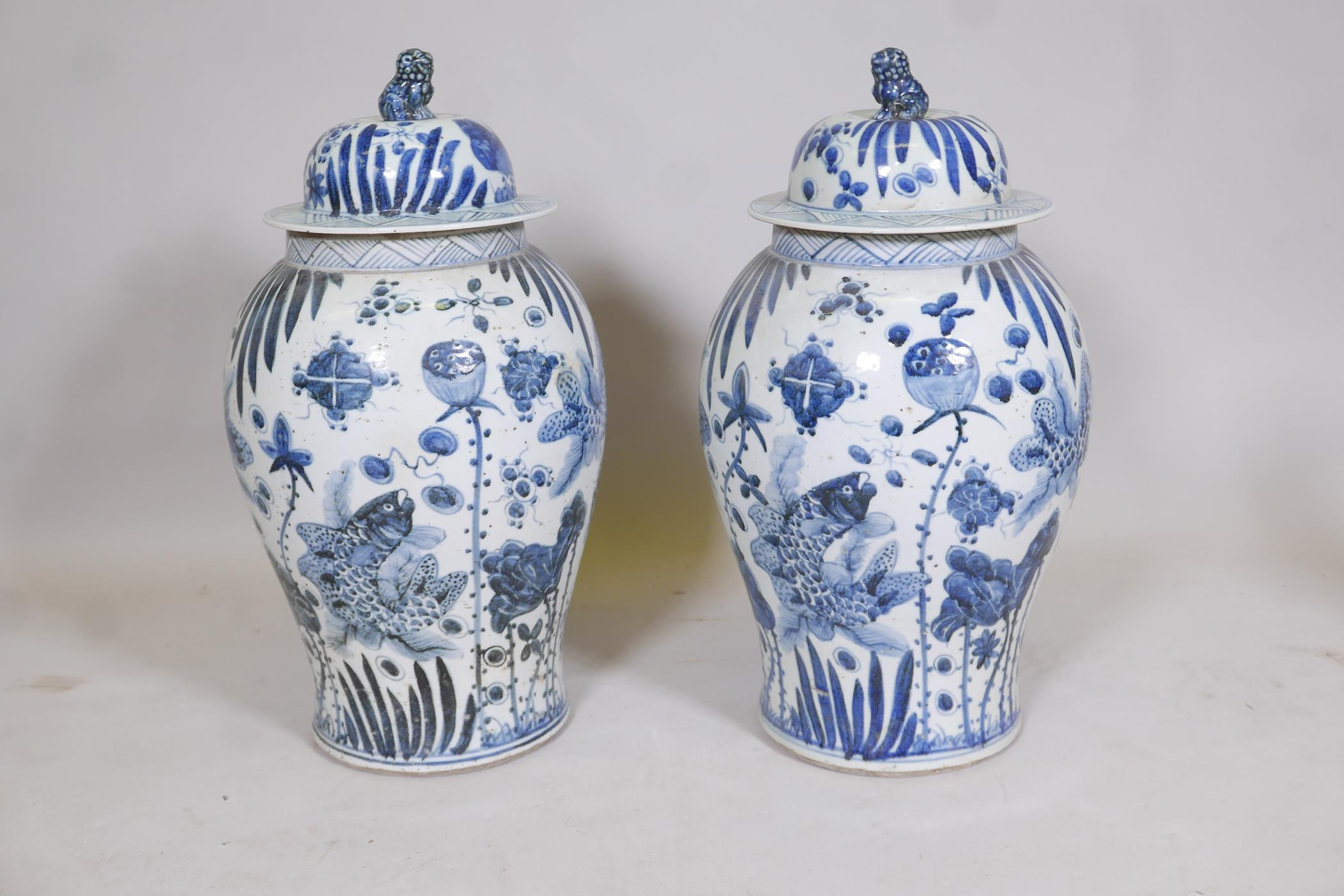 A pair of Chinese blue and white porcelain meiping jar and covers decorated with carp in a lotus